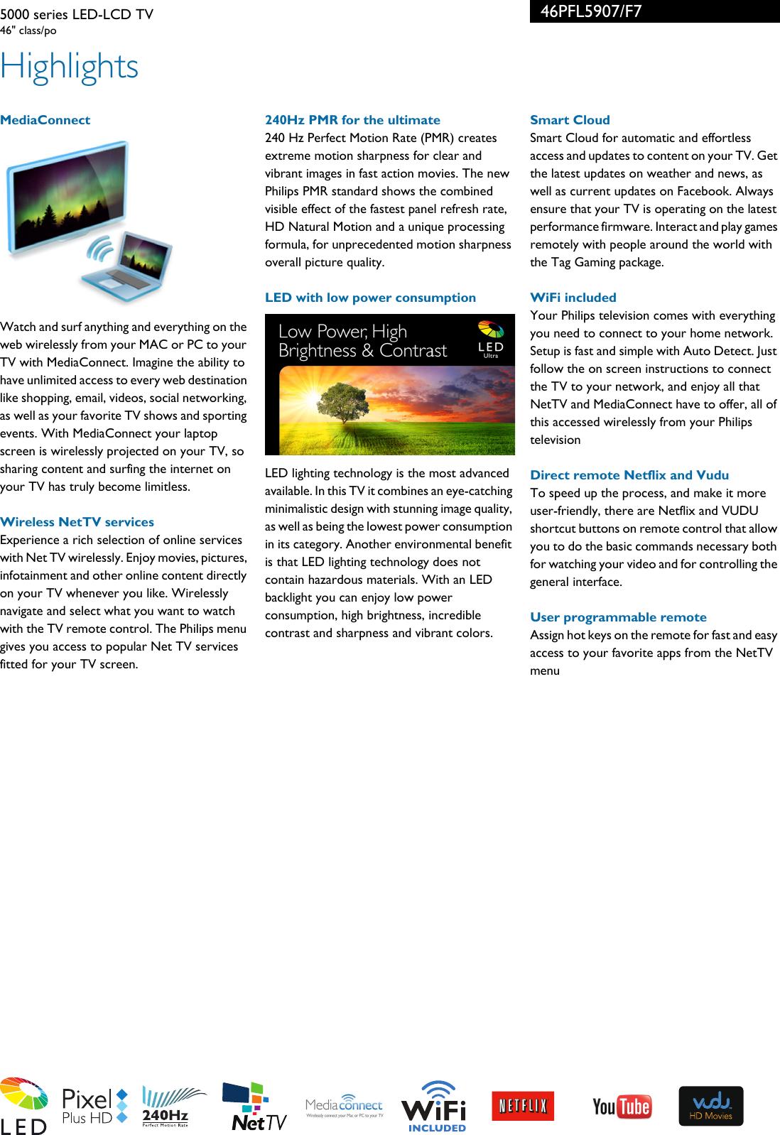 Philips 46PFL5907/F7 5000 Series LED LCD TV User Manual Leaflet