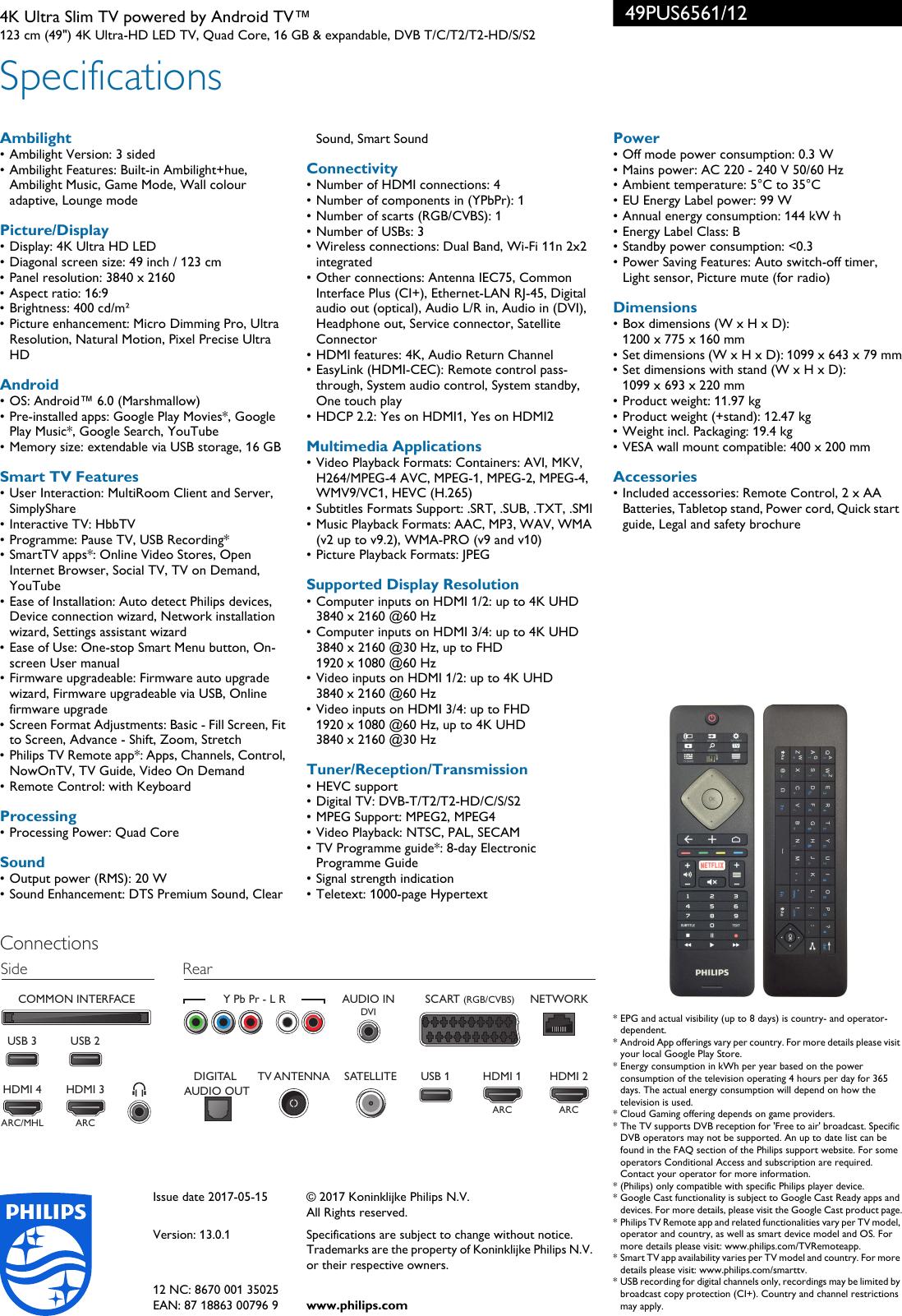 Philips 49PUS6561/12 Leaflet 49PUS6561_12 Released United