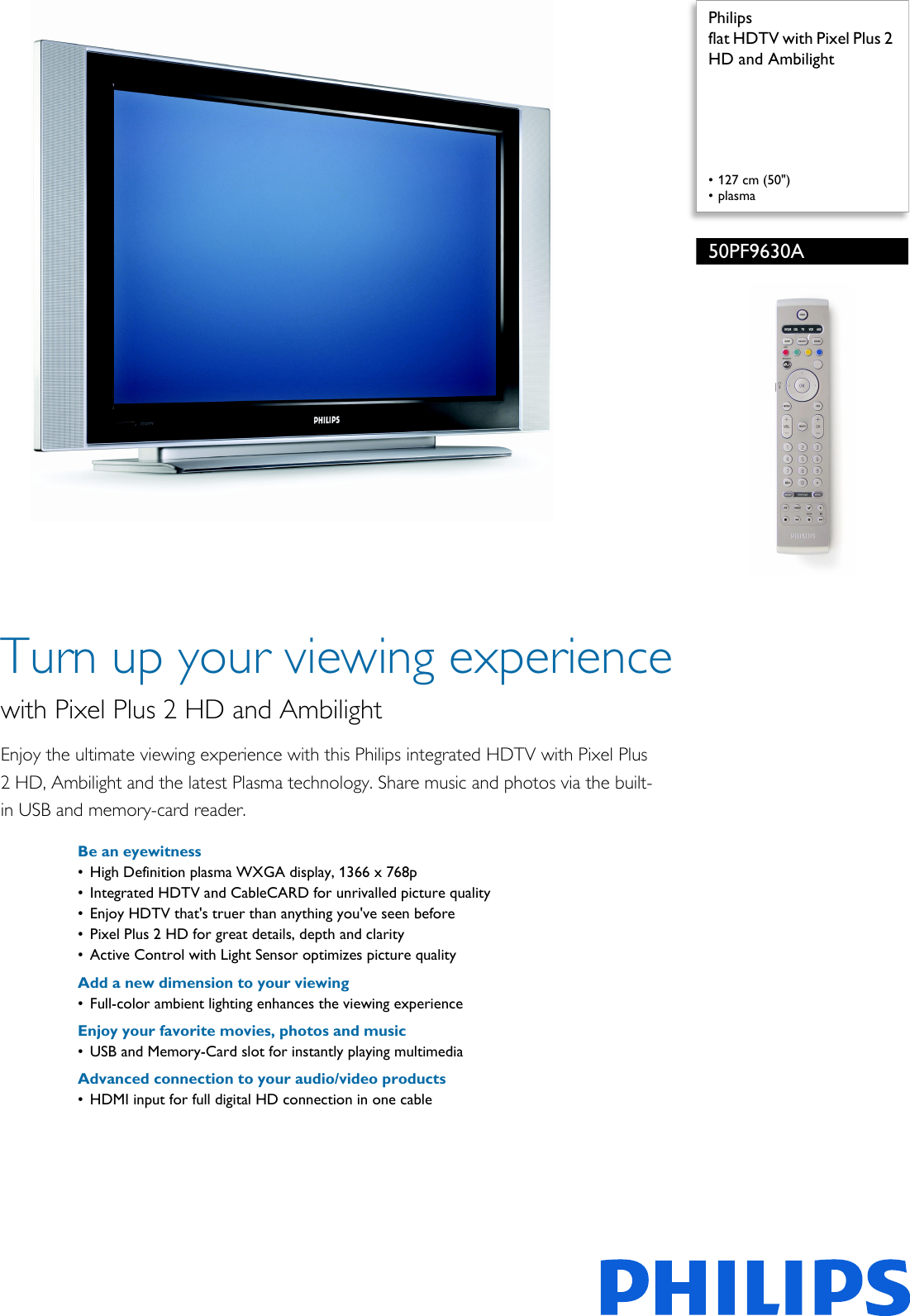 philips 50pf9630a 37 flat hdtv with pixel plus 2 hd and ambilight rh usermanual wiki