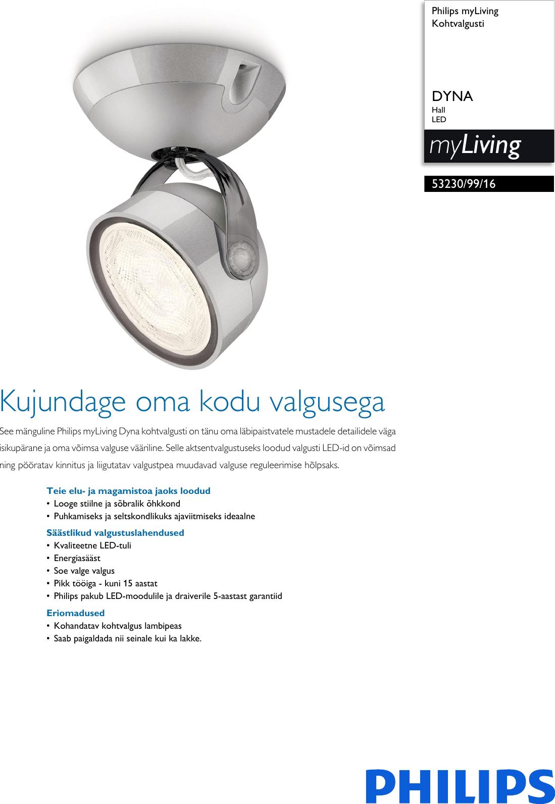 dfd324e58f2 Philips 53230/99/16 532309916 Kohtvalgusti User Manual Voldik Pss Estee
