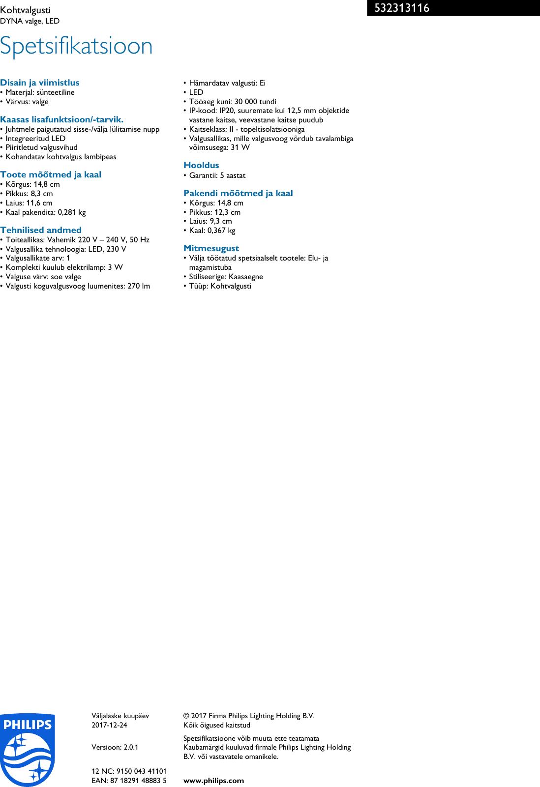 76e831ff107 Philips 53231/31/16 532313116 Kohtvalgusti User Manual Voldik Pss Estee