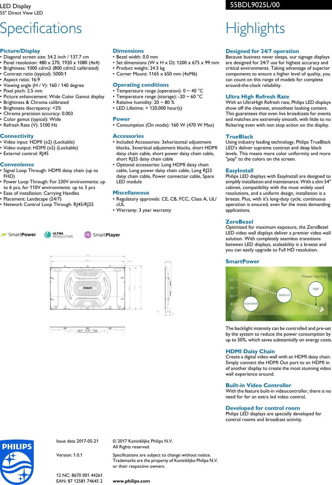Philips 55bdl9025l 00 Led Display User Manual Leaflet Rj25 Wiring Diagram For Connector Page 2 Of