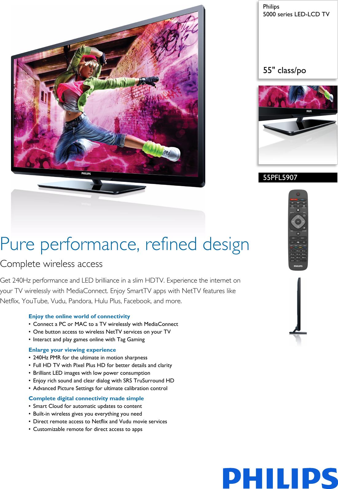 Philips 55PFL5907/F7 5000 Series LED LCD TV User Manual