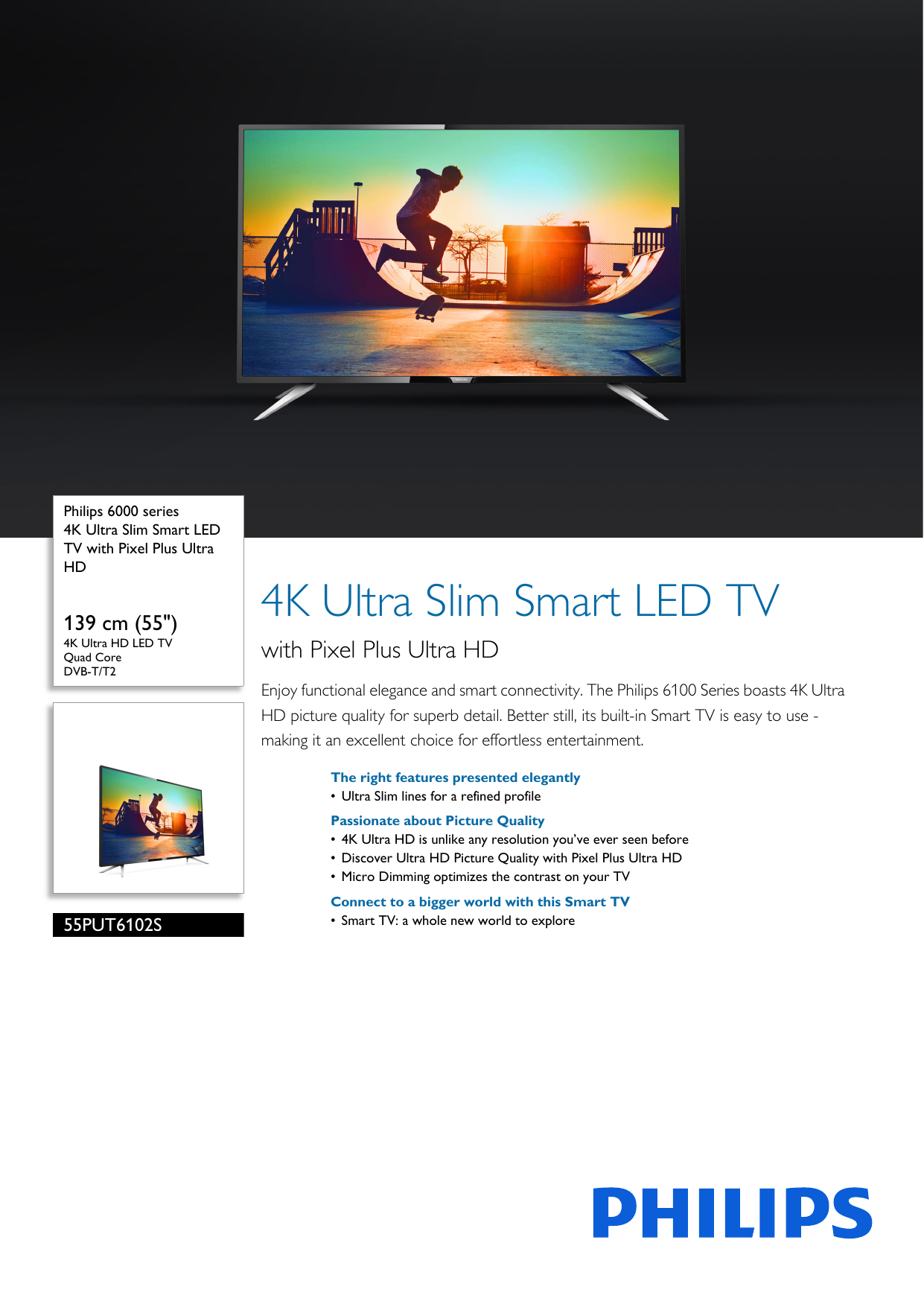 Philips 55PUT6102S/98 4K Ultra Slim Smart LED TV With Pixel