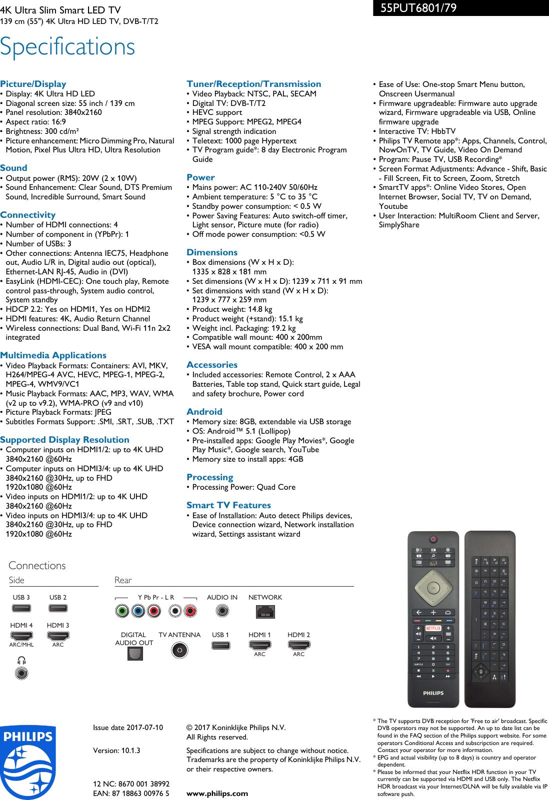 Philips 55PUT6801/79 4K Ultra Slim Smart LED TV With Pixel