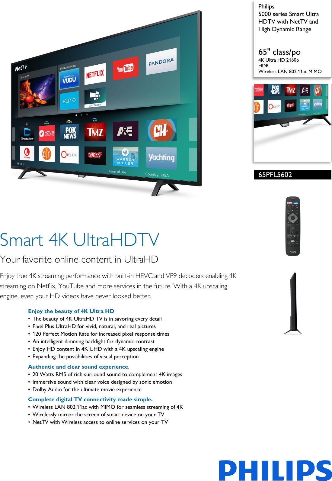 Philips 65PFL5602/F7 5000 Series Smart Ultra HDTV With NetTV