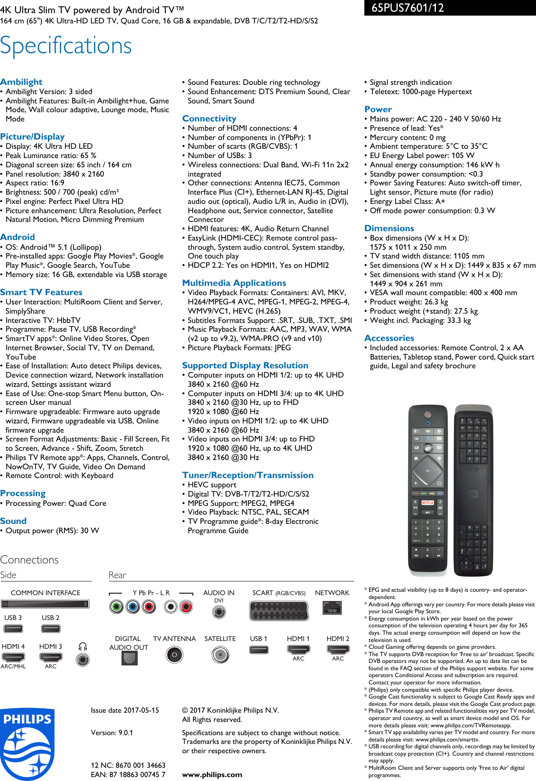 Philips 65PUS7601/12 Leaflet 65PUS7601_12 Released United