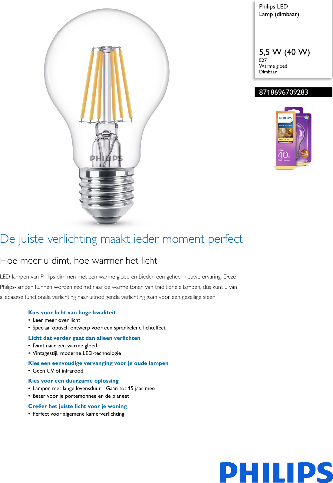 Philips 8718696709283 Lamp Dimbaar User Manual Brochure Pss Nldnl