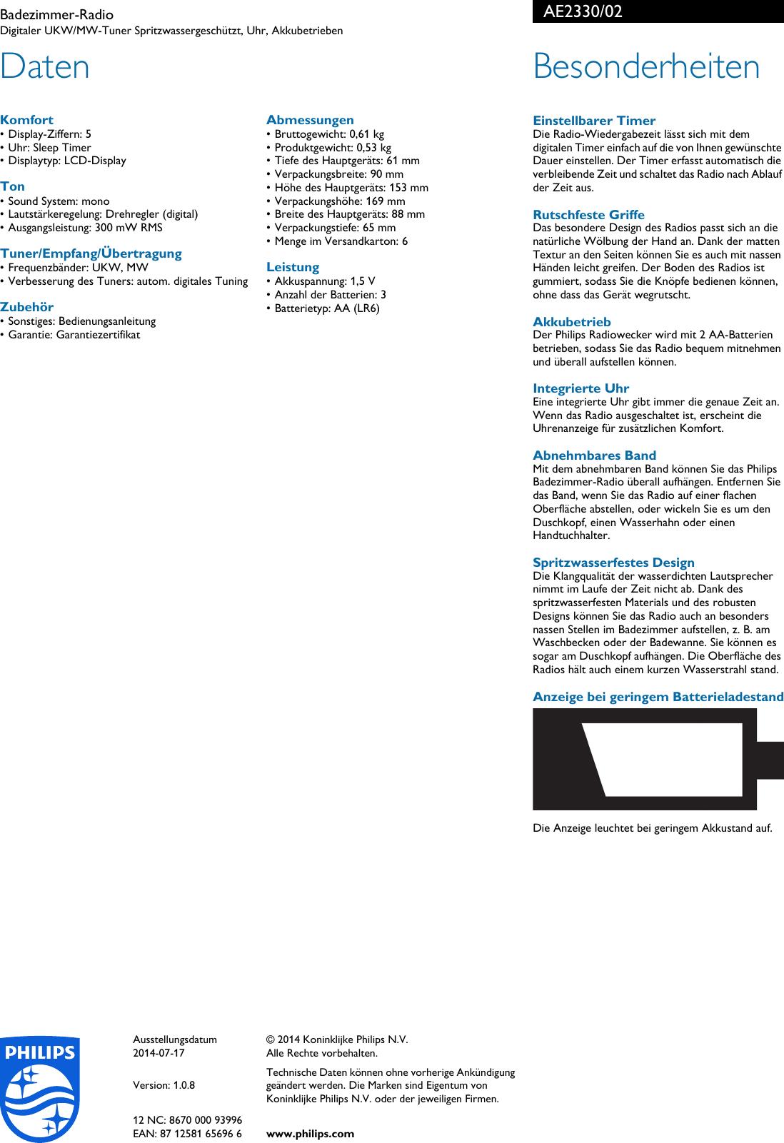 Page 2 Of Philips AE2330/02 Badezimmer Radio User Manual Datenblatt Ae2330  02 Pss