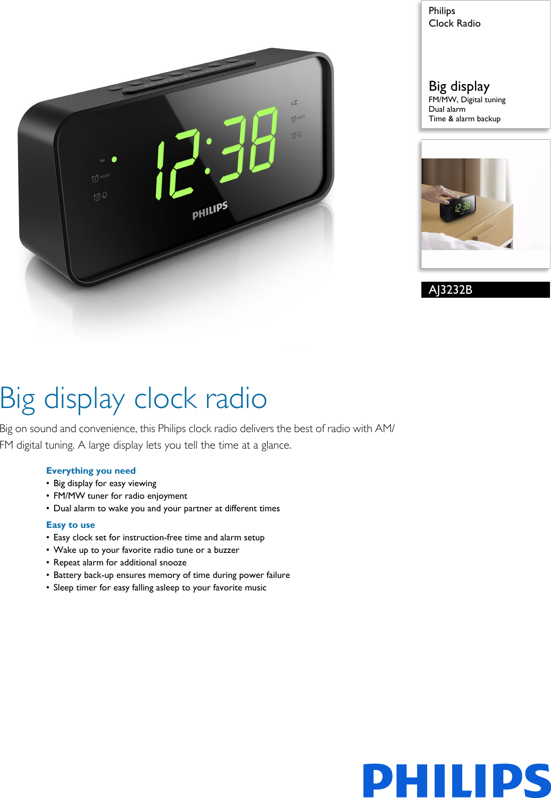 Philips Aj3232b 79 Clock Radio User Manual Leaflet Pss Engau Kit Digital Fm Display Frequensi Counter Untuk Tuner