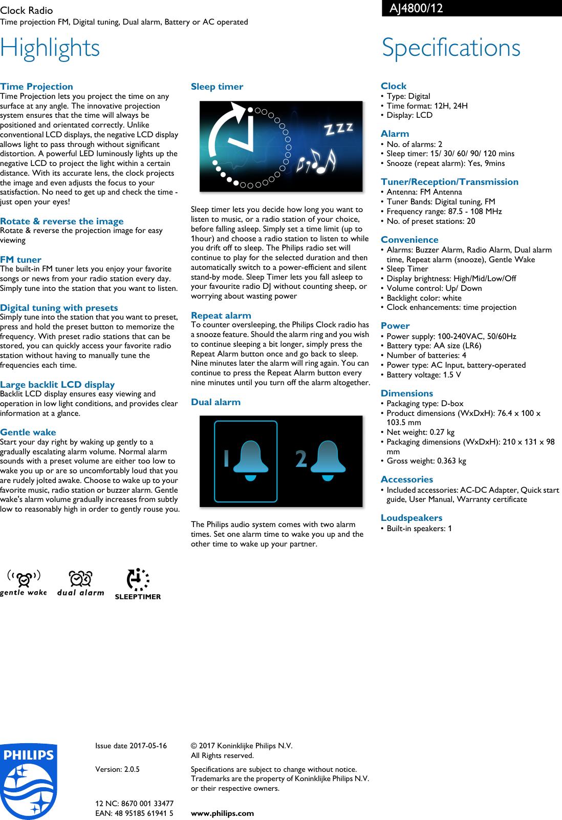 Philips AJ4800/12 Clock Radio User Manual Leaflet Aj4800 12