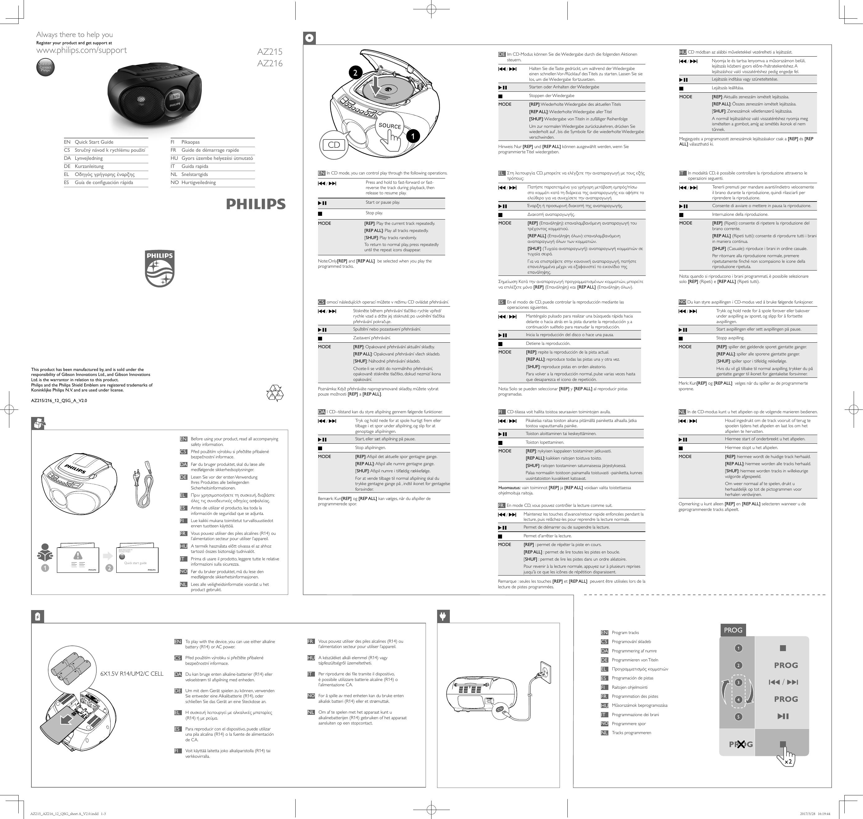 Philips Az215g12 User Manual Quick Start Guide Az215g 12 Qsg Ita
