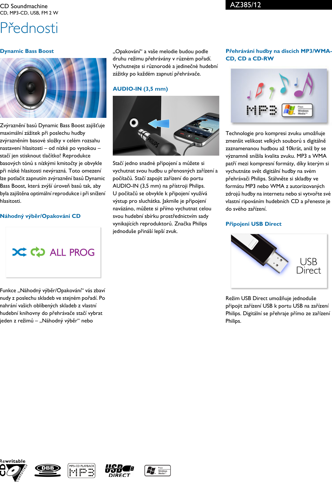 Philips AZ385/12 Leaflet AZ385_12 Released Czech Republic