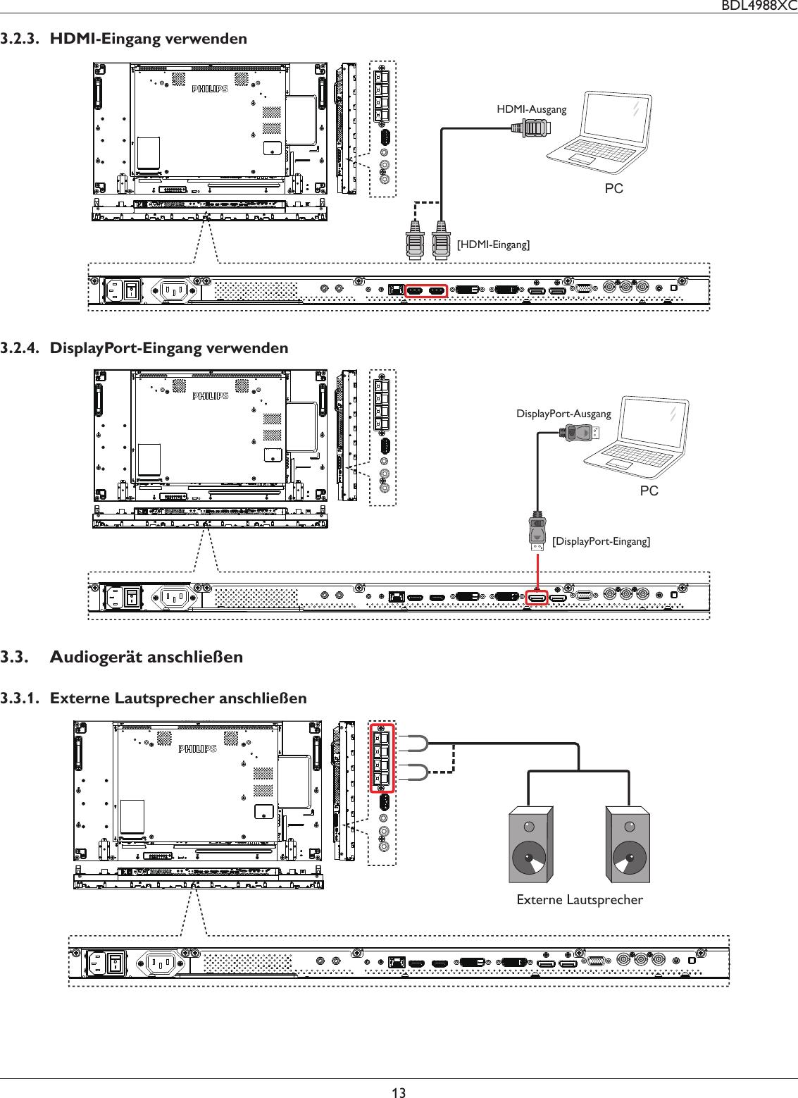 Philips Bdl4988xc 00 User Manual Dfu Deu Displayport Schematic Bdl4988xc13323 Hdmi Eingang Verwendenpchdmi Ausganghdmi Eingang32