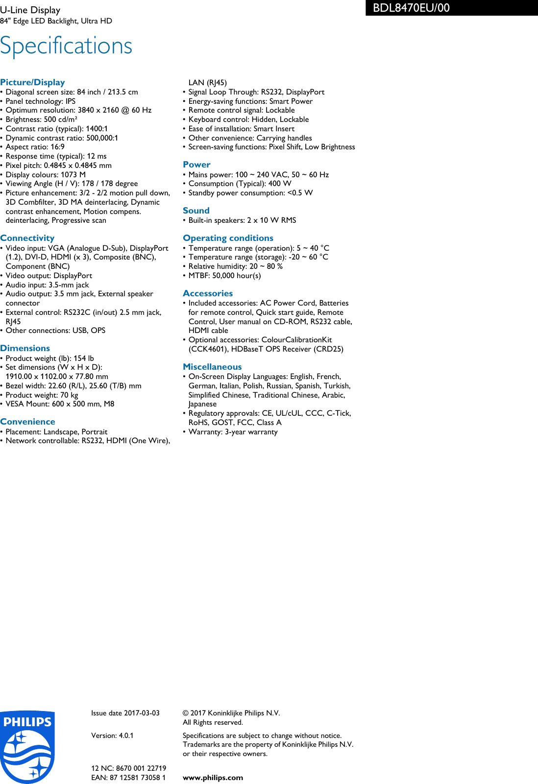 Philips BDL8470EU/00 U Line Display User Manual Leaflet