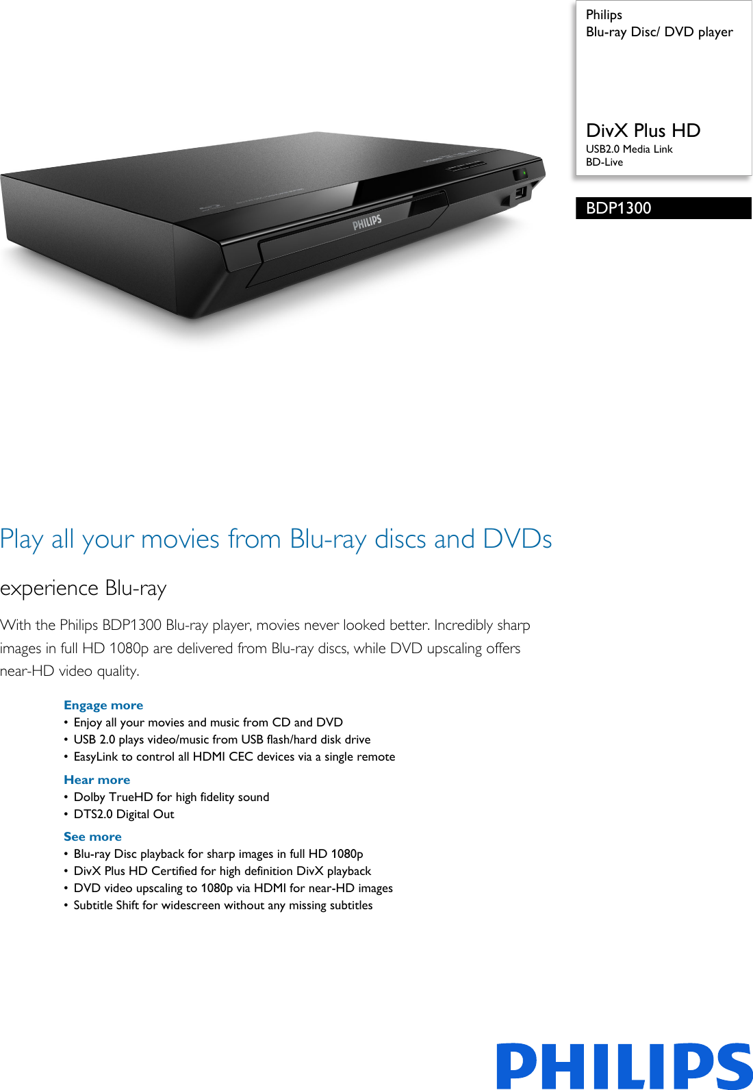 philips bdp1300 98 blu ray disc dvd player user manual leaflet rh usermanual wiki Philips DVD Player Remote Philips Portable DVD Player