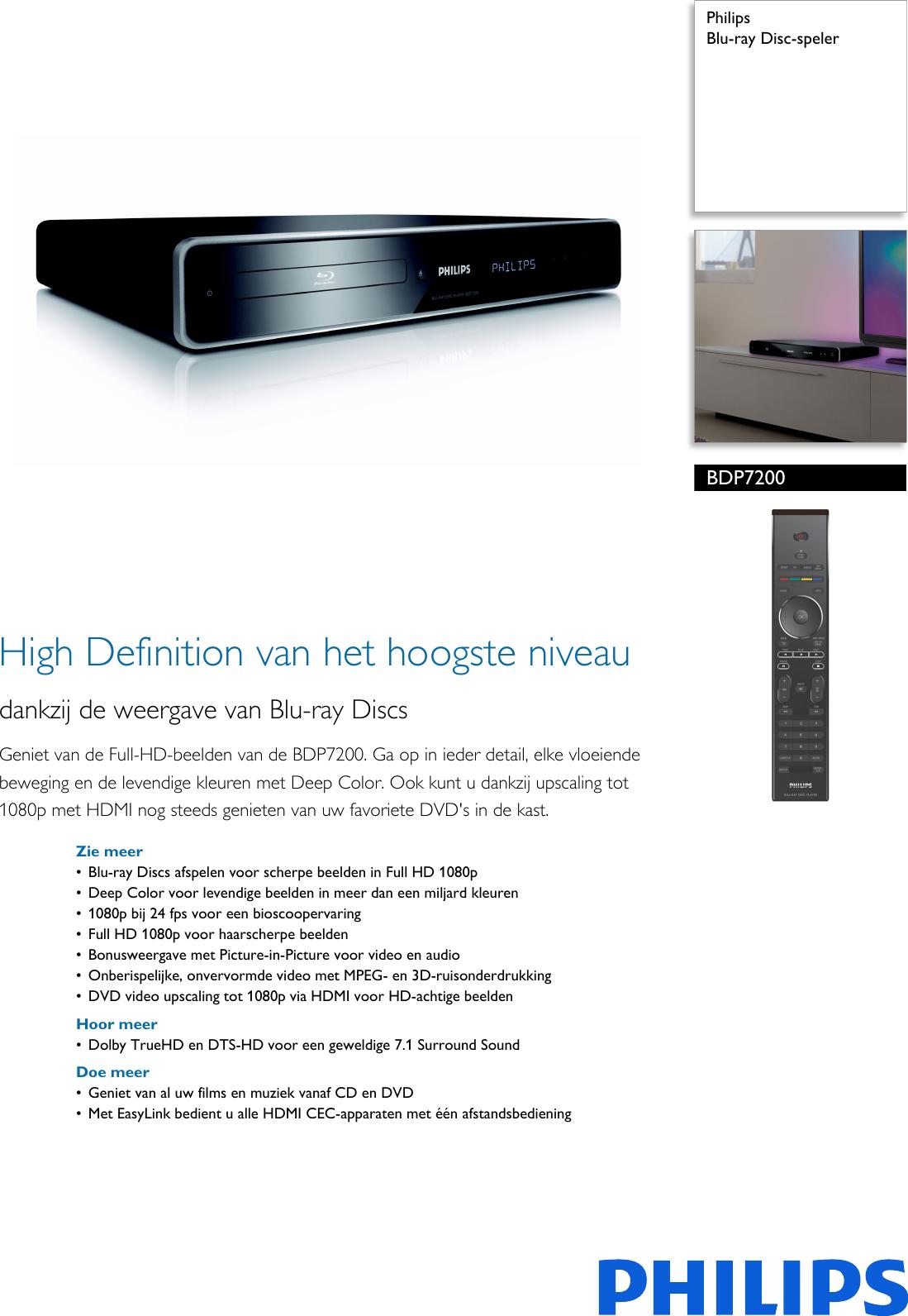 Philips Bdp720012 Blu Ray Disc Speler User Manual Brochure