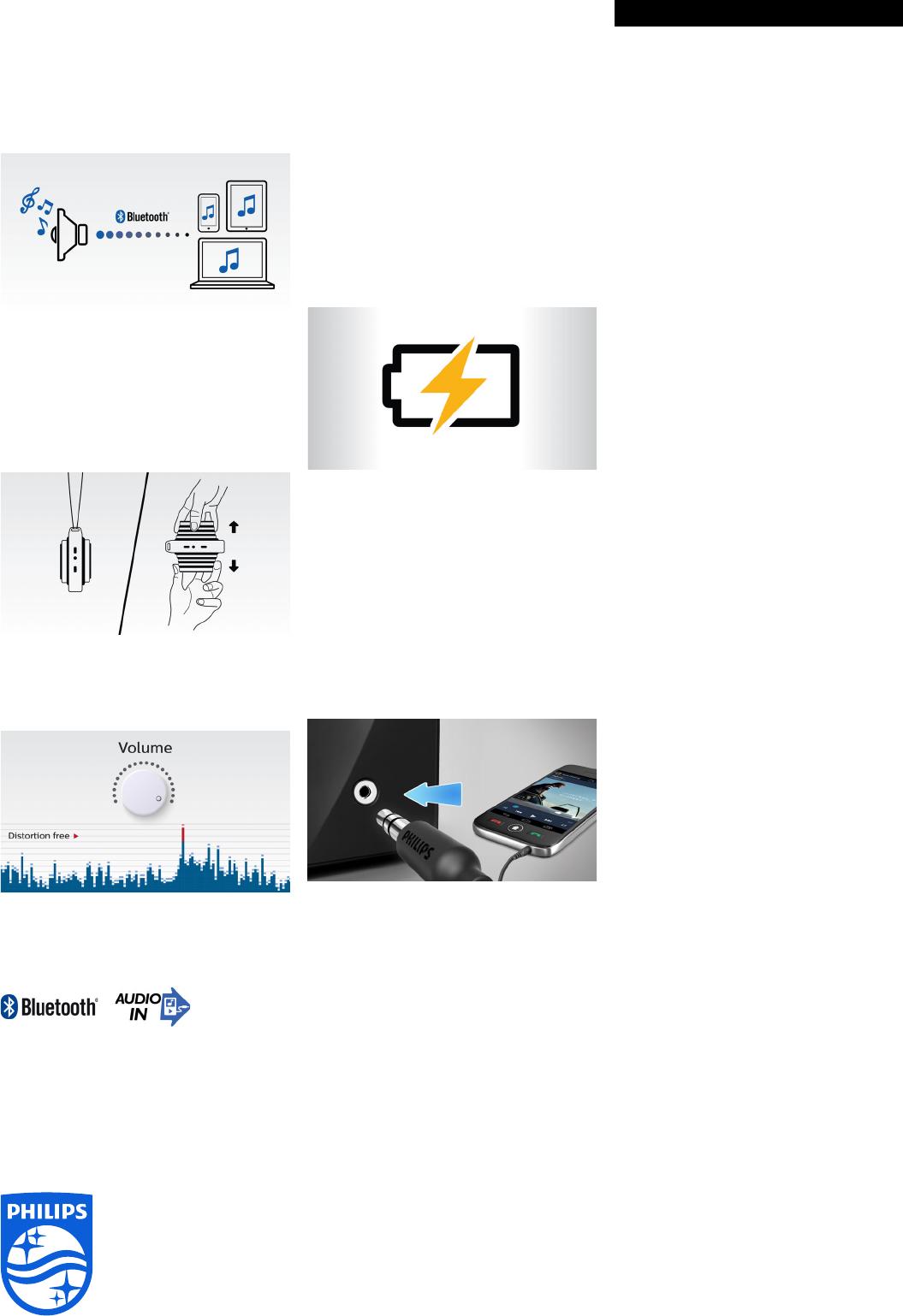 Philips BT2000B/37 Wireless Portable Speaker User Manual Leaflet ...