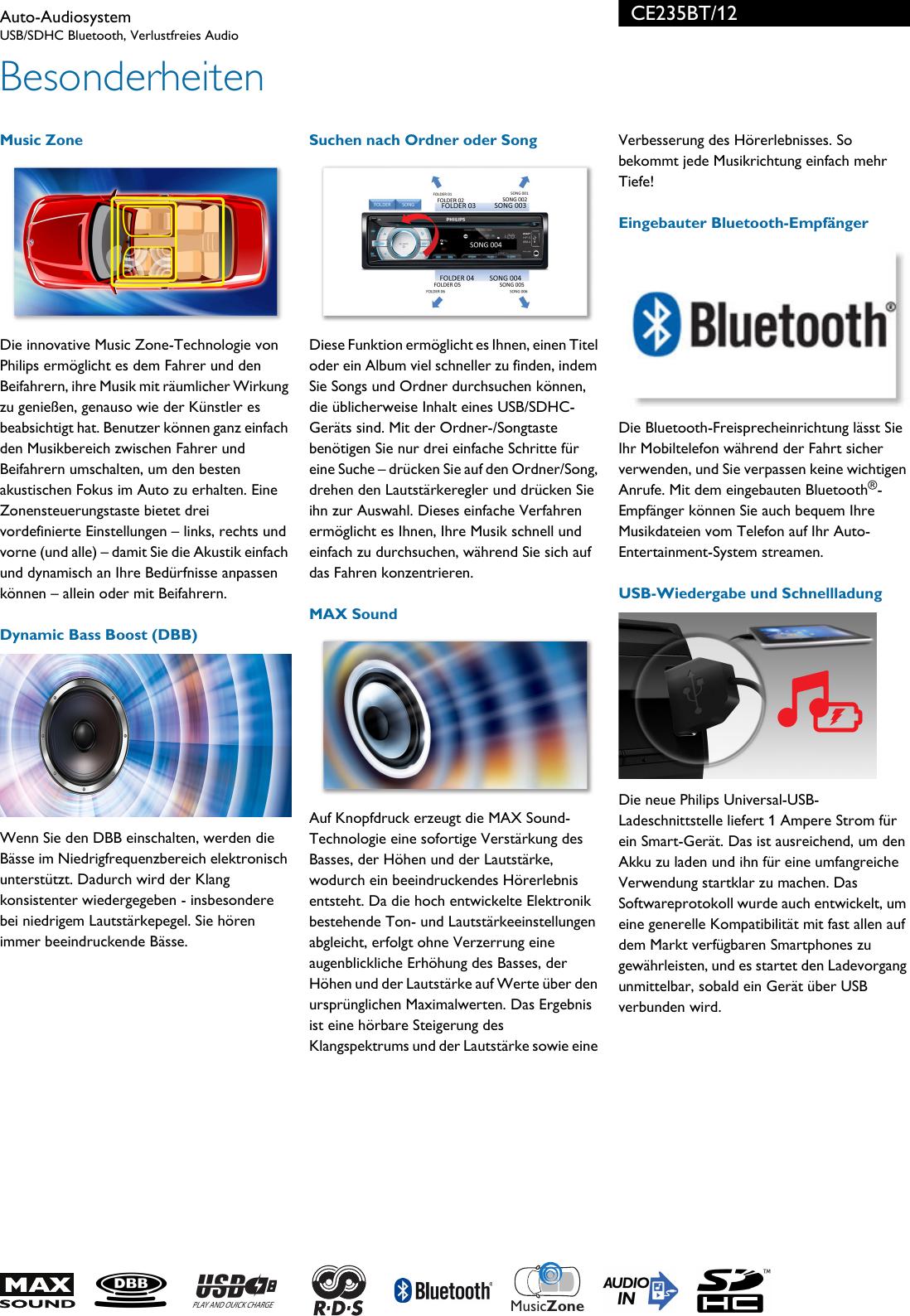 Philips CE235BT/12 Auto Audiosystem User Manual Datenblatt