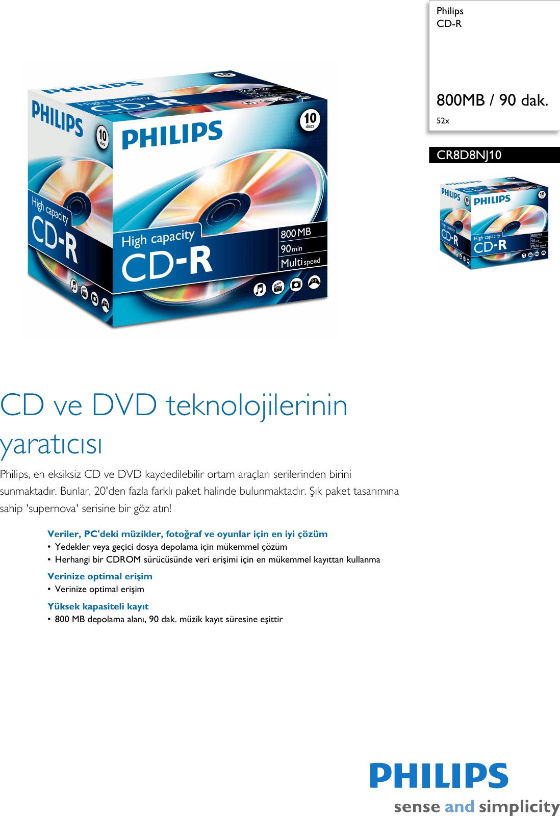 Philips CR8D8NJ10 00 CD R User Manual Bror Cr8d8nj10 Pss Turtr