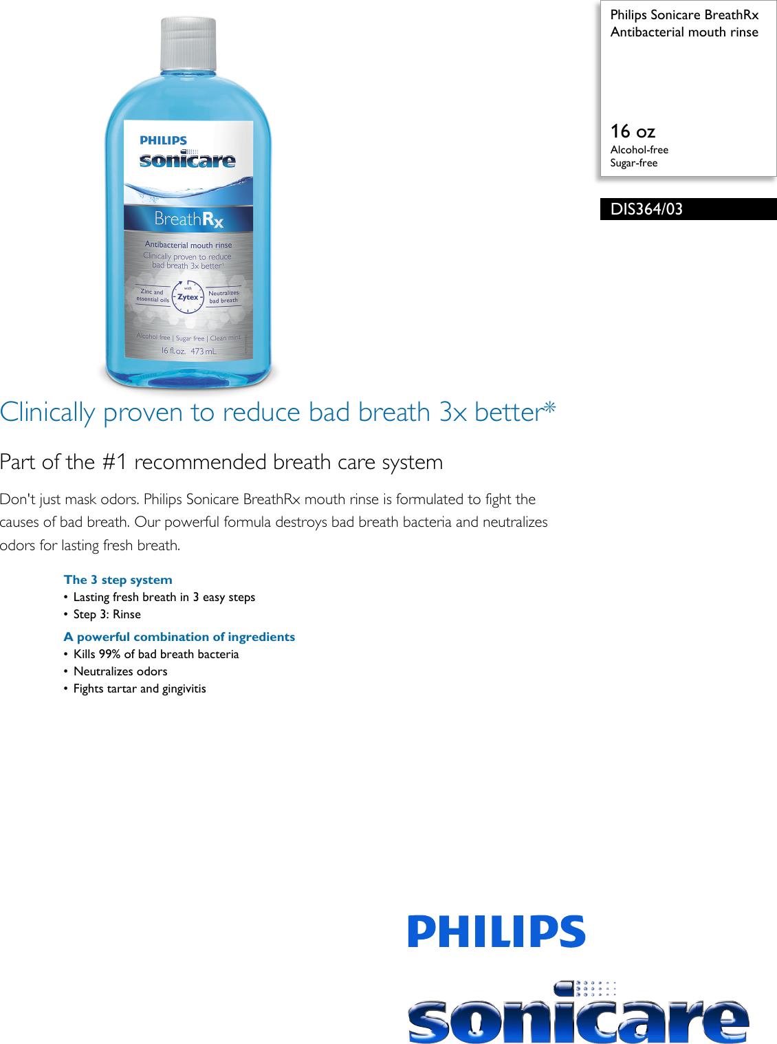 Philips DIS364/03 Antibacterial Mouth Rinse User Manual
