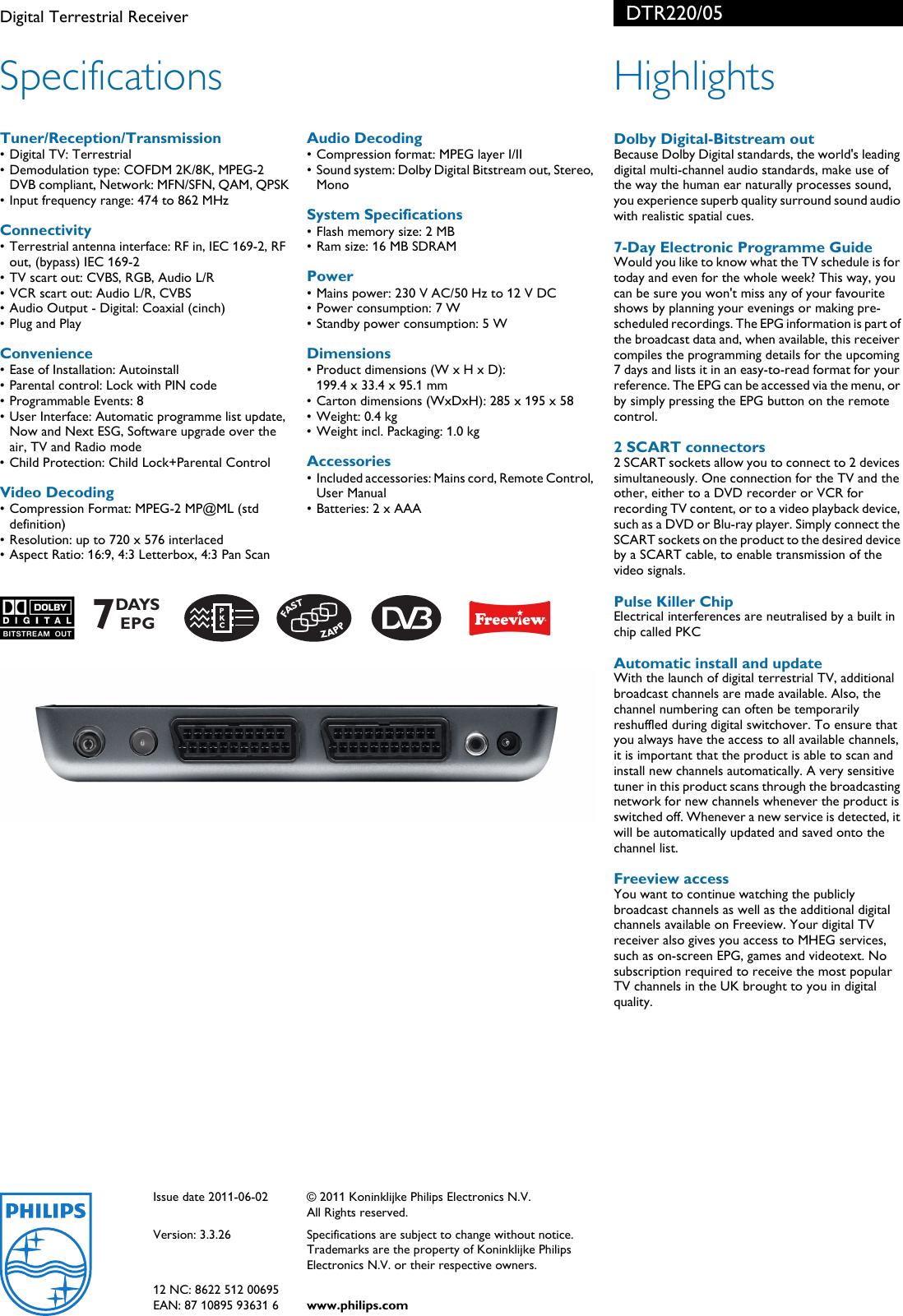 Philips DTR220/05 Digital Terrestrial Receiver User Manual Leaflet