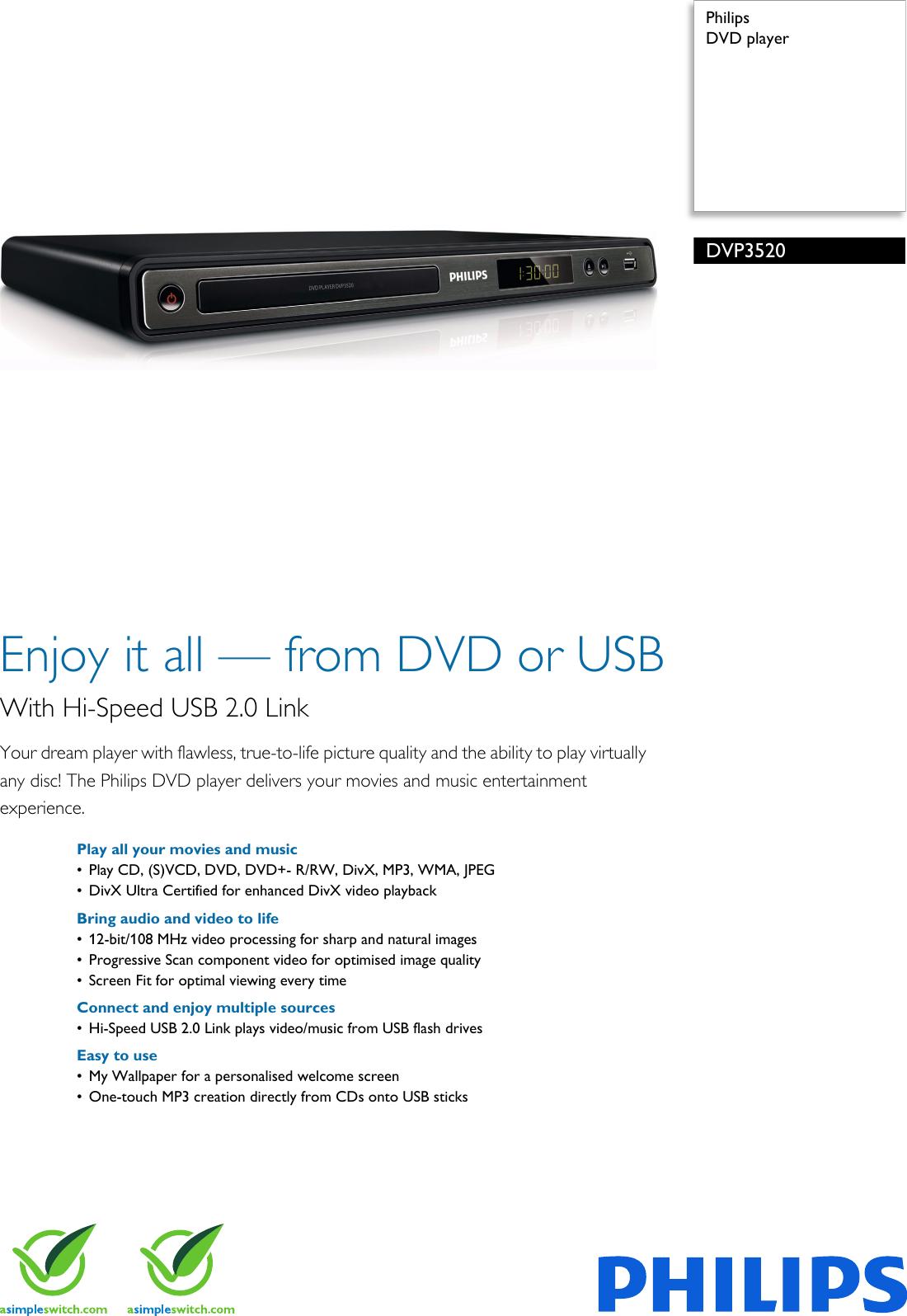philips dvp3520 05 dvd player user manual leaflet dvp3520 05 pss enggb rh usermanual wiki Funai DVD Player Philips Portable DVD Player