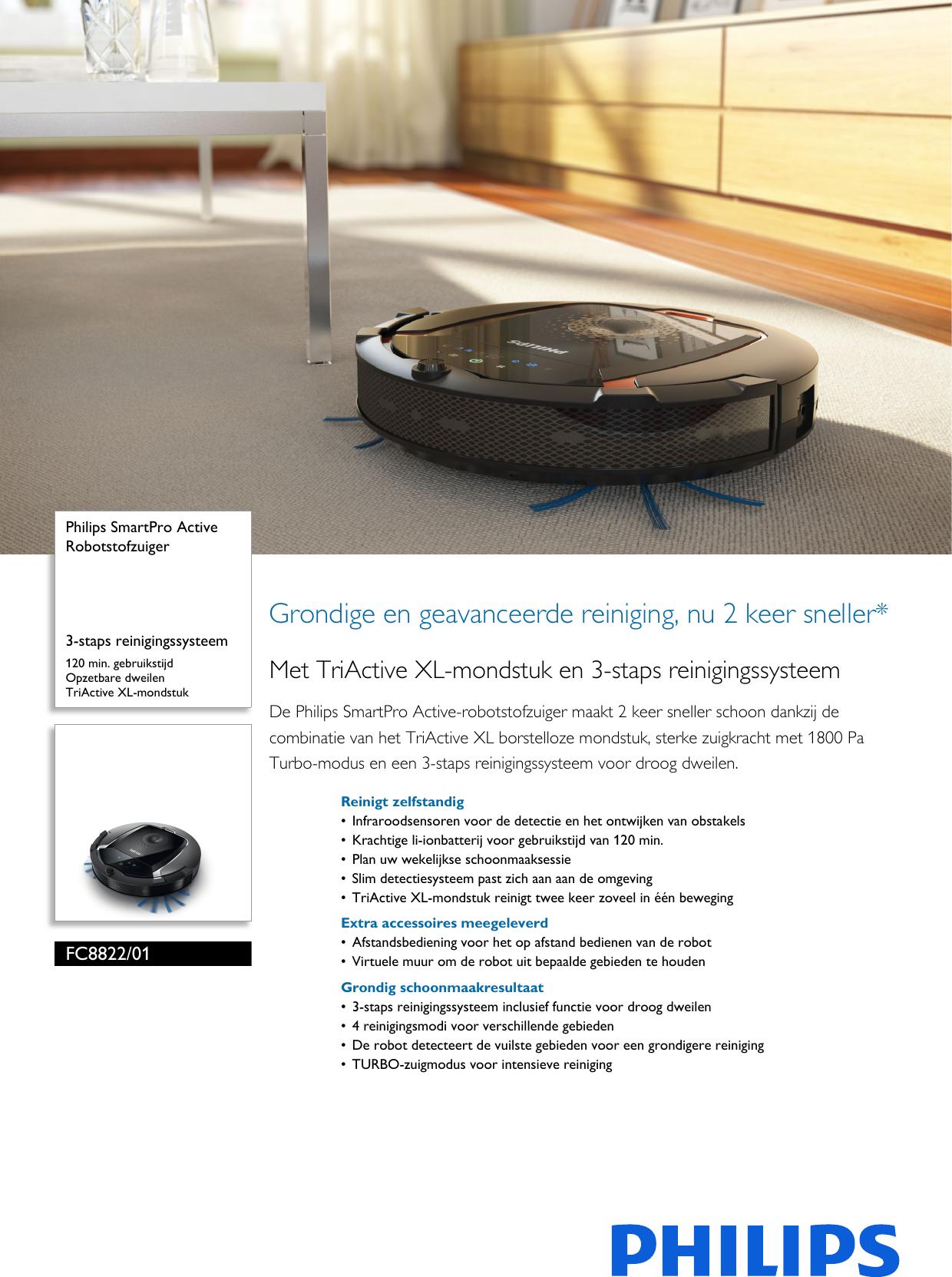 philips fc8822 01 robotstofzuiger user manual brochure. Black Bedroom Furniture Sets. Home Design Ideas