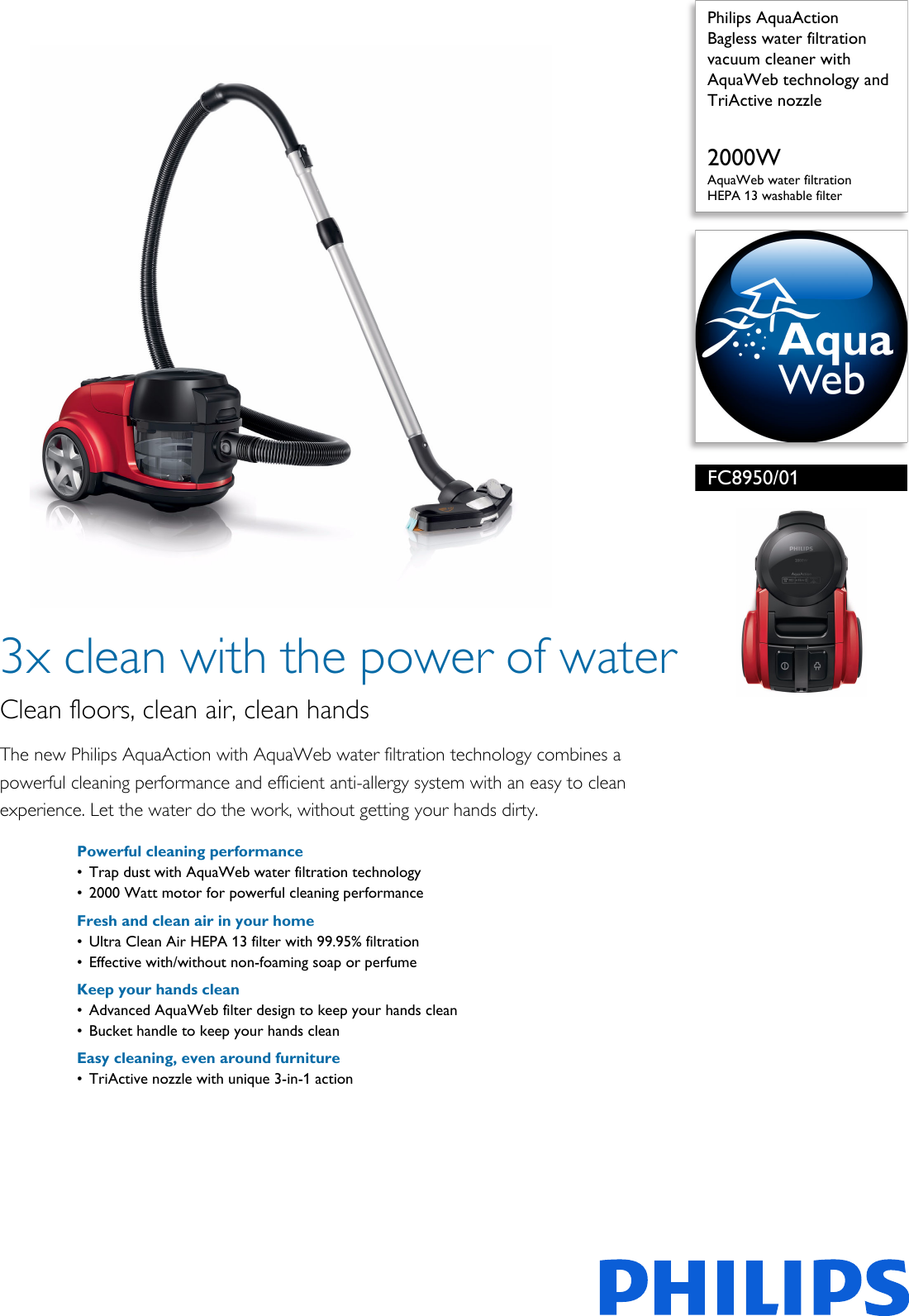 Philips FC8950/01 Bagless Water Filtration Vacuum Cleaner With