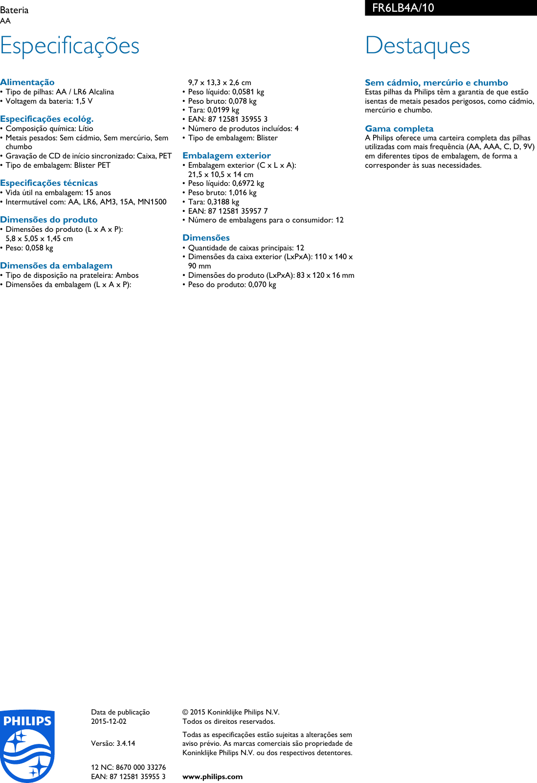 Page 2 of 2 - Philips FR6LB4A 10 Bateria User Manual Folheto Fr6lb4a 10 Pss c9674686d48f0