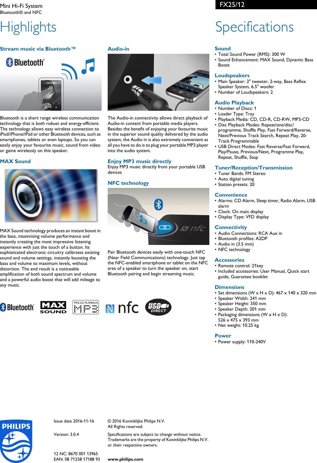 Philips FX25/12 Mini Hi Fi System User Manual Leaflet Fx25