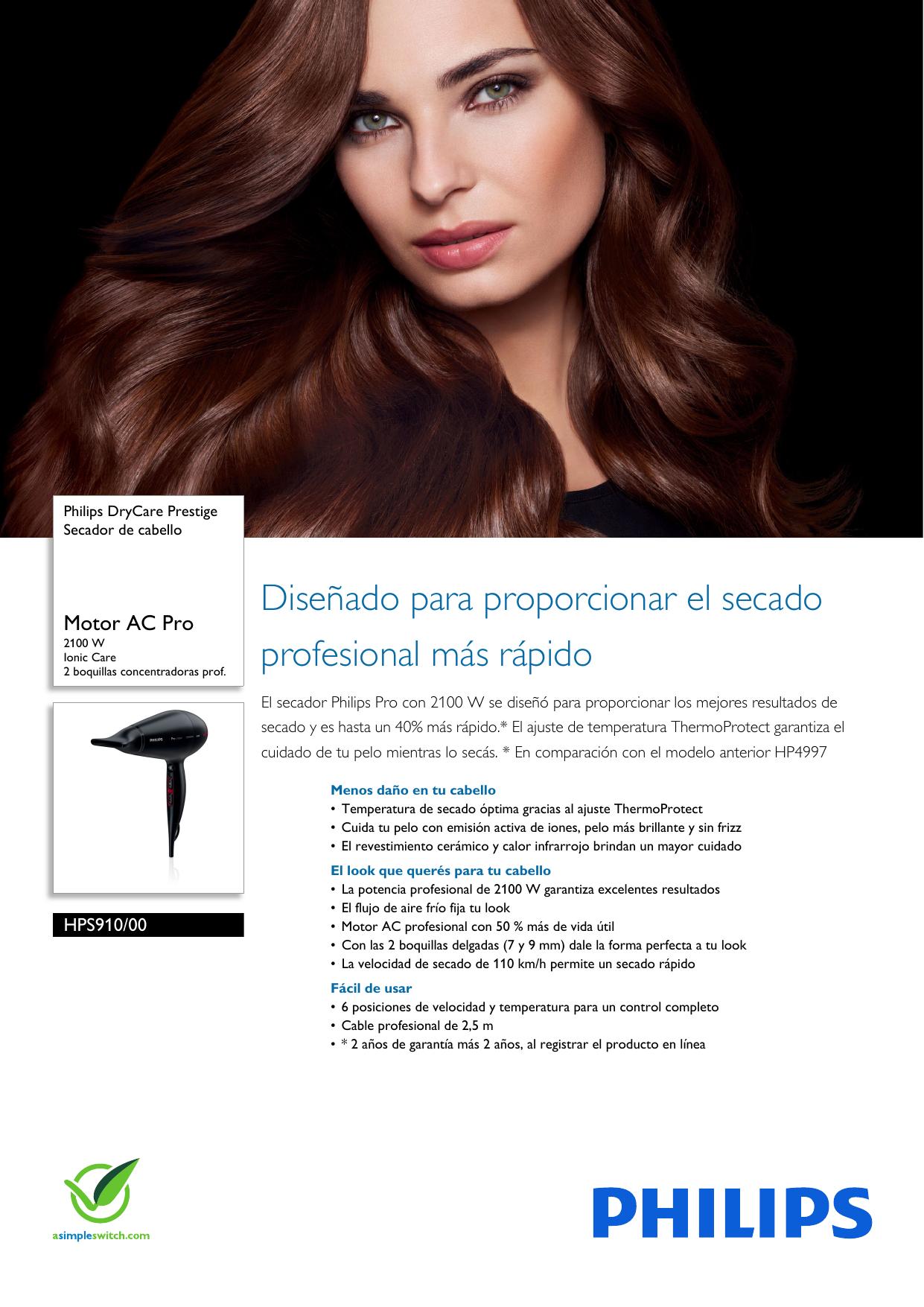 Philips HPS910 00 Leaflet HPS910 00 Released Argentina (Spanish) User  Manual Folleto Hps910 00 Pss Aspar 0dd5f72056ec