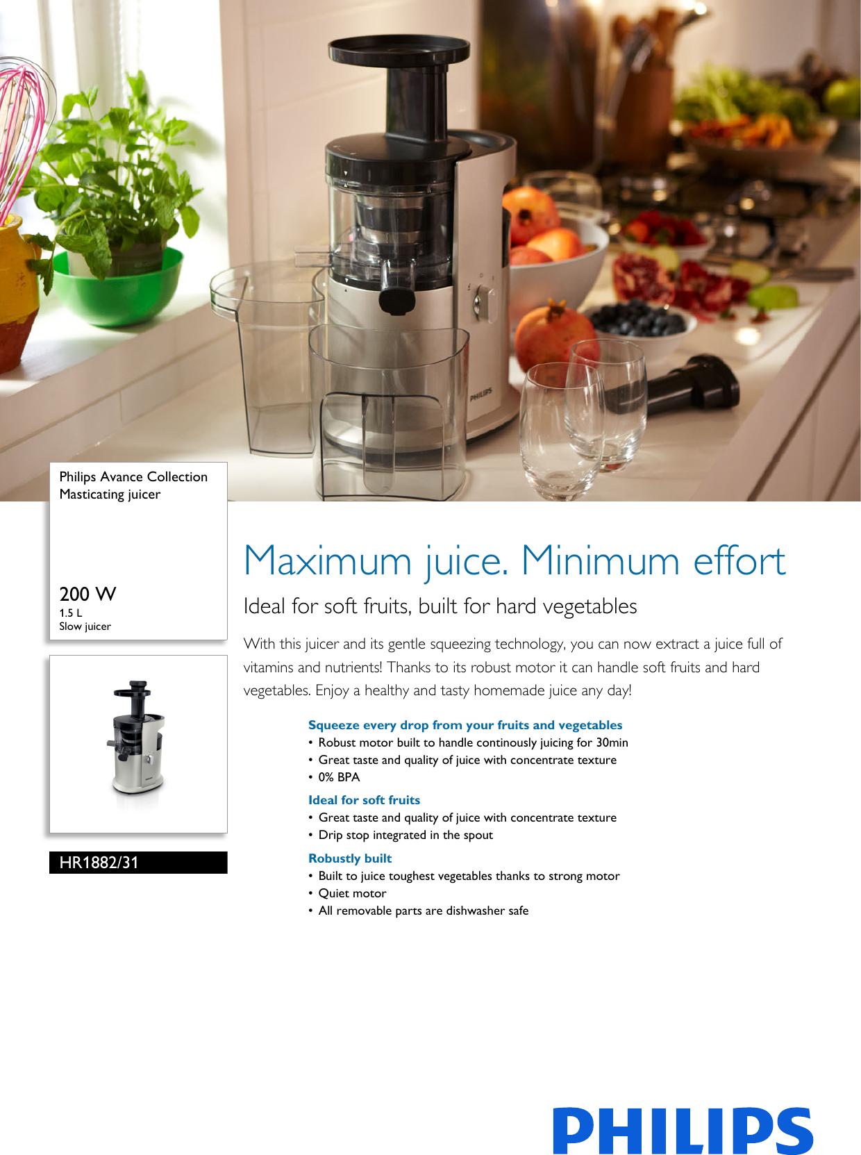 Philips HR188231 Masticating Juicer User Manual Leaflet