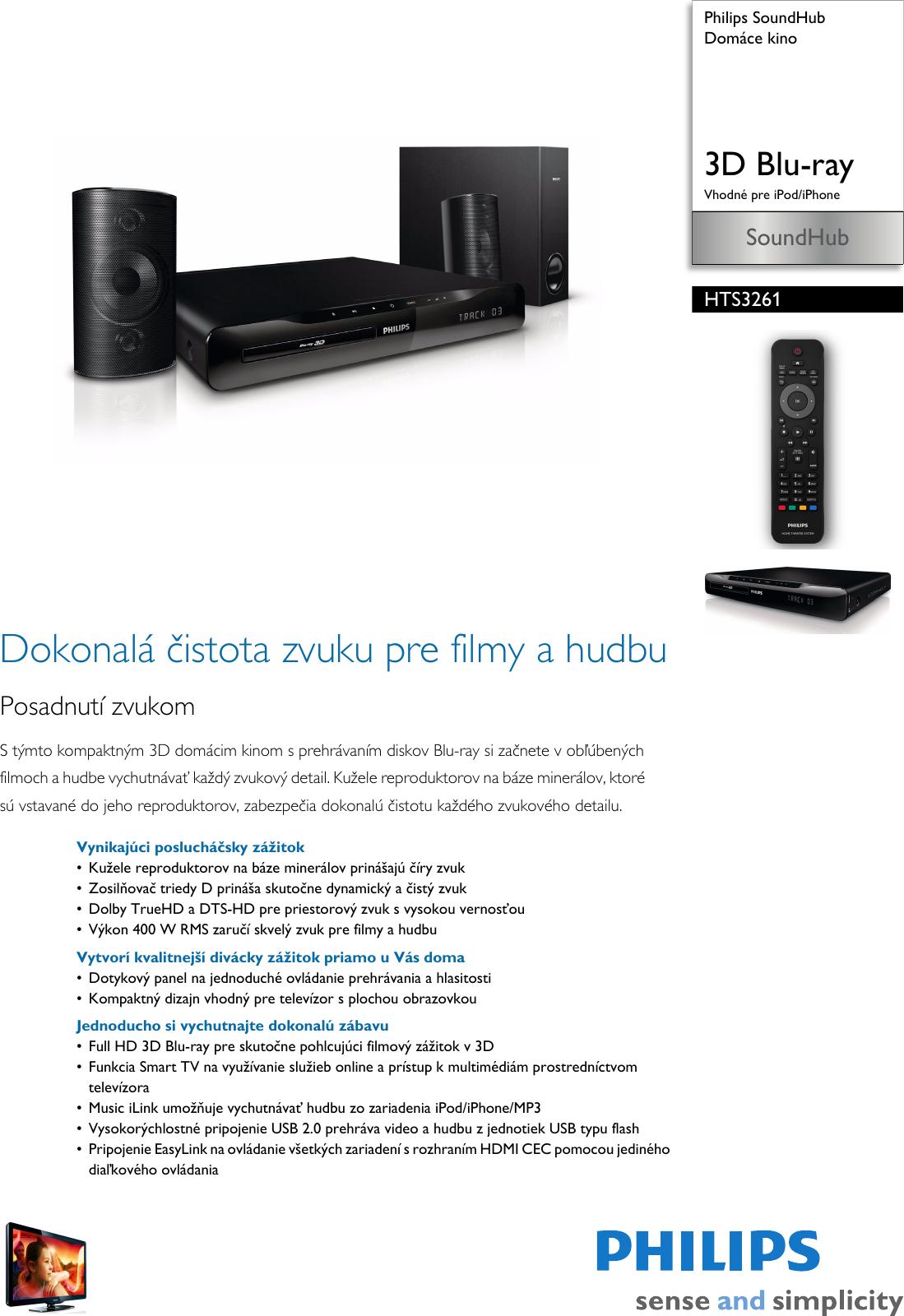 ae7106e47 Philips HTS3261/12 Leaflet HTS3261_12 Released Slovakia (Slovak) User  Manual Prospekt Hts3261 12 Pss Slksk