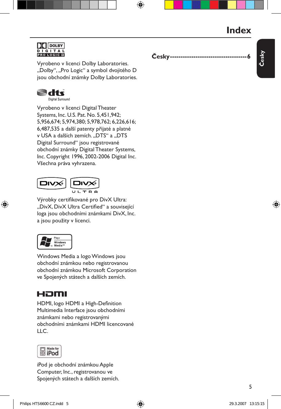 Philips HTS6600/12 User Manual Pou vate sk Prru ka Hts6600 12 ...