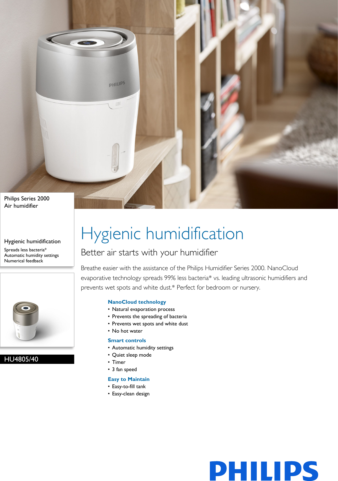 Philips Hu4805 40 Air Humidifier User Manual Leaflet Pss Aenca Automatic