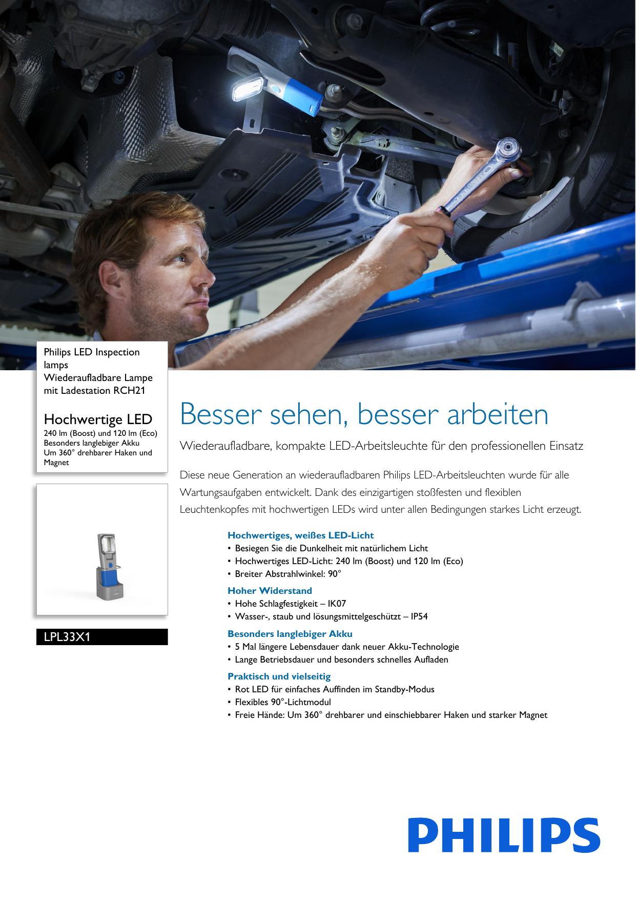 Philips LPL33X1 LED-Arbeitsleuchte RCH21 mit Ladestation