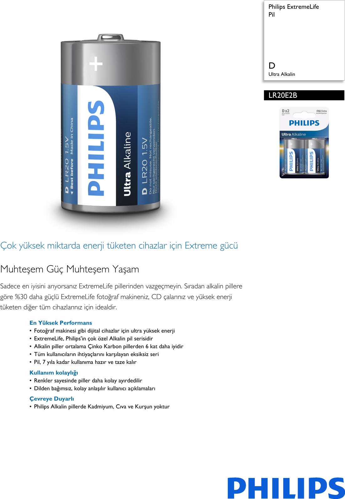 Philips LR20E2B/10 Pil User Manual Broşür Lr20e2b 10 Pss Turtr