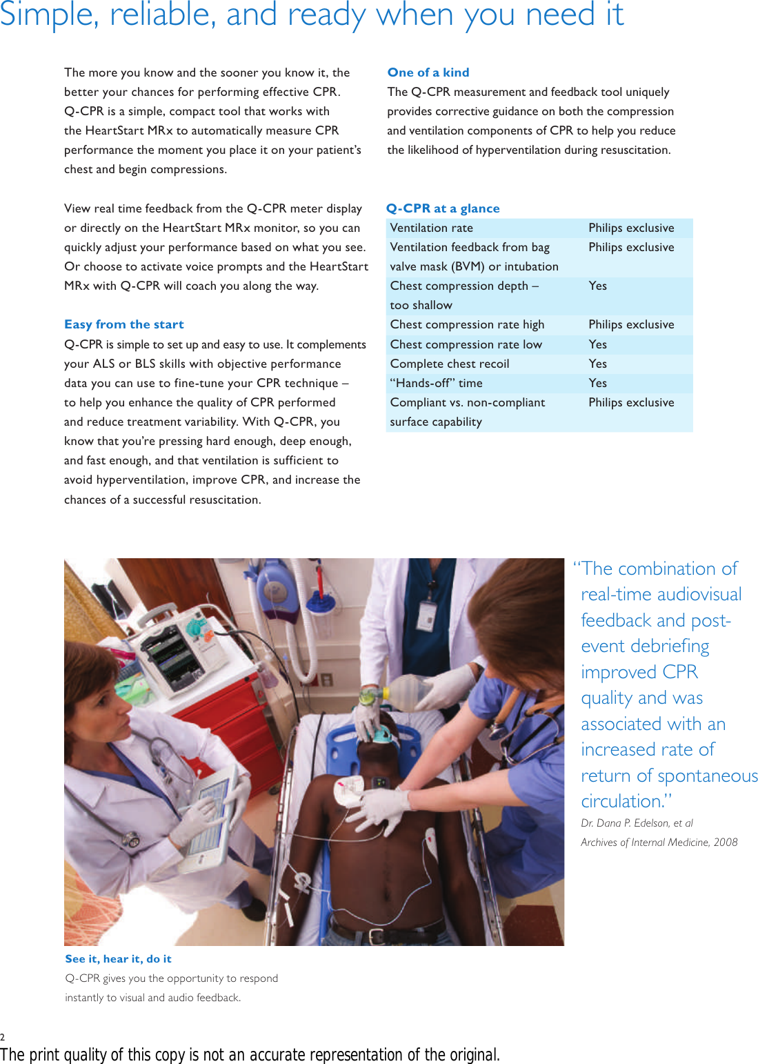 Philips M3536A User Manual Hospital Q CPR Brochure