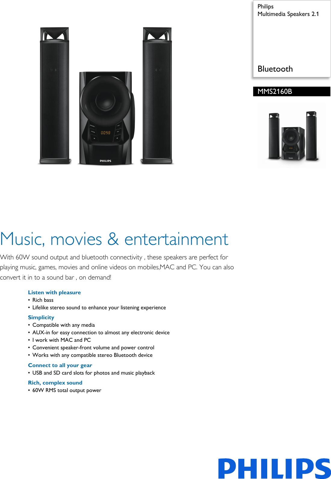 philips mms2160b 94 multimedia speakers 2 1 user manual leaflet rh usermanual wiki Philips M3001A Module Philips Transport Monitor