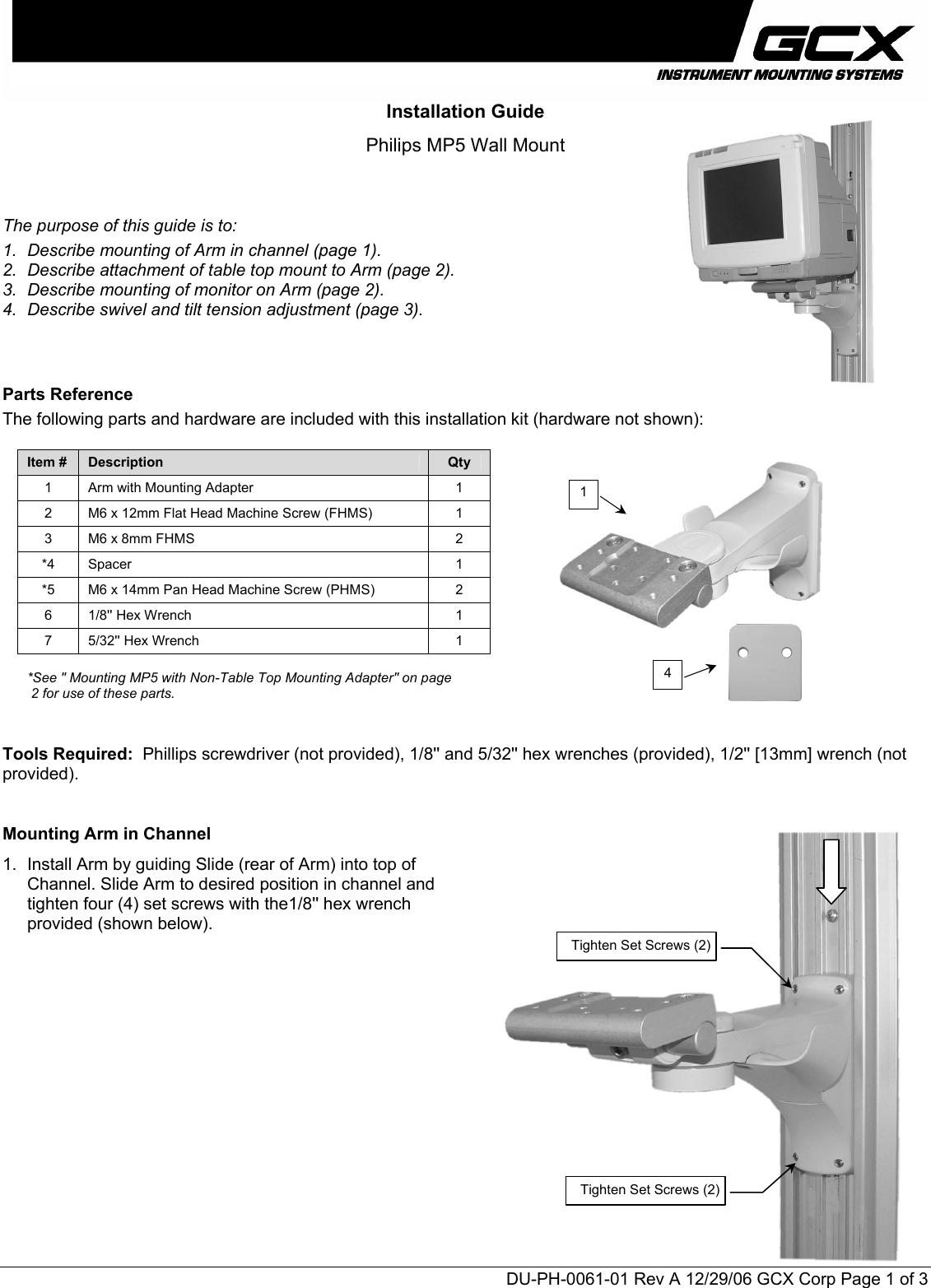 Philips MNT203 DU PH 0061 01 Rev A User Manual Installation