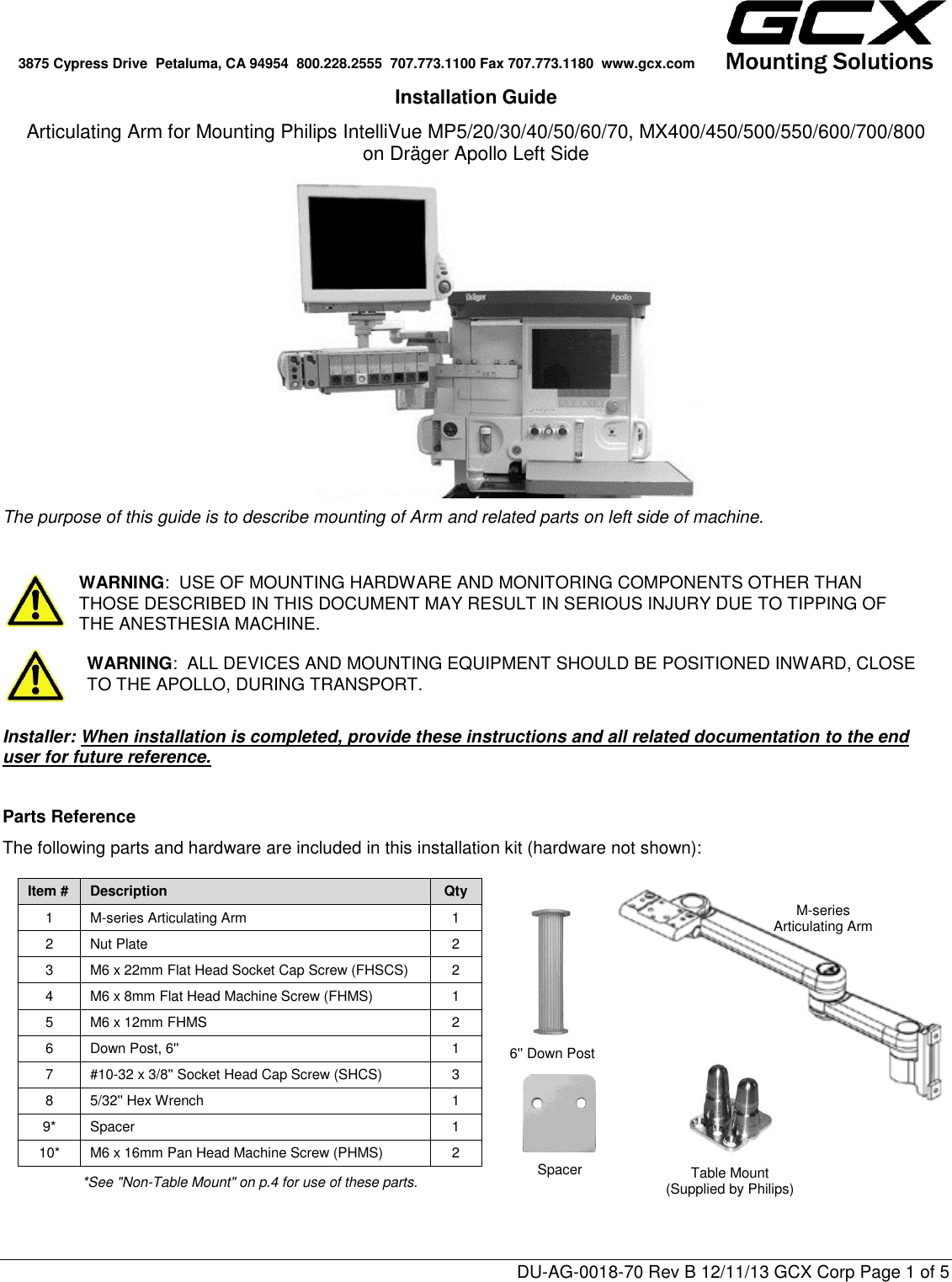Philips MNT89 GCX Mounting Assembly Installation Guide User