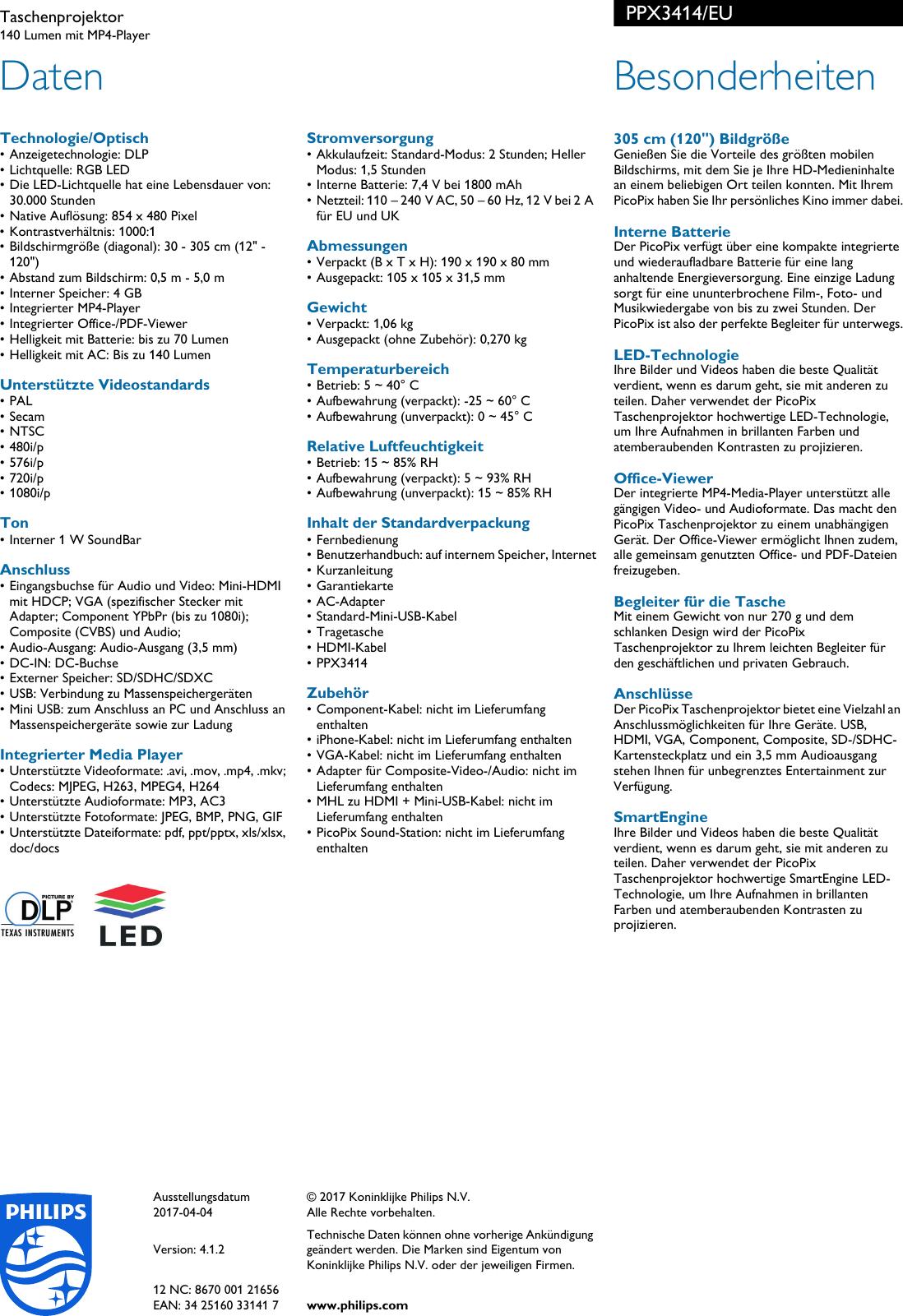 Sdxc Kartensteckplatz.Philips Ppx3414 Eu Leaflet Ppx3414 Eu Released Switzerland