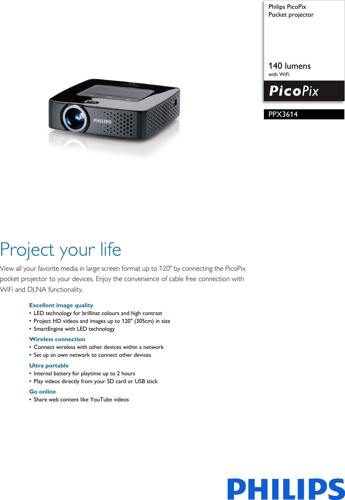 Philips PPX3614/SGP Pocket Projector User Manual Leaflet
