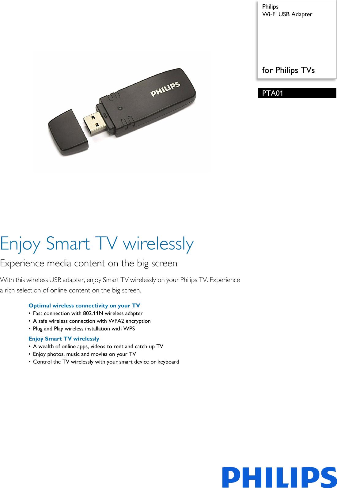 Philips PTA01/00 Wi Fi USB Adapter User Manual Leaflet Pta01