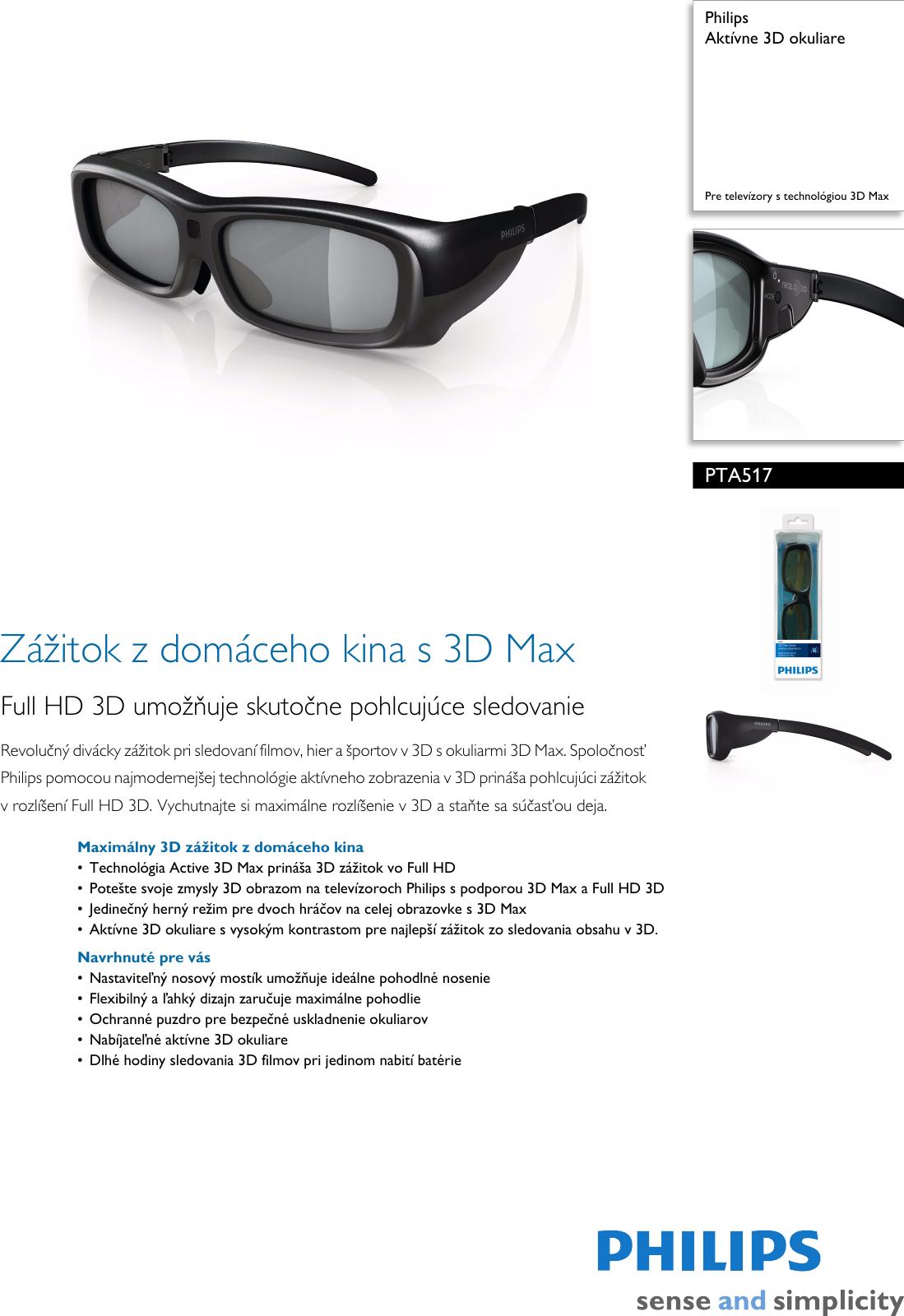 d329b1fb5 Philips PTA517/00 Aktívne 3D Okuliare User Manual Prospekt Pta517 00 Pss  Slksk