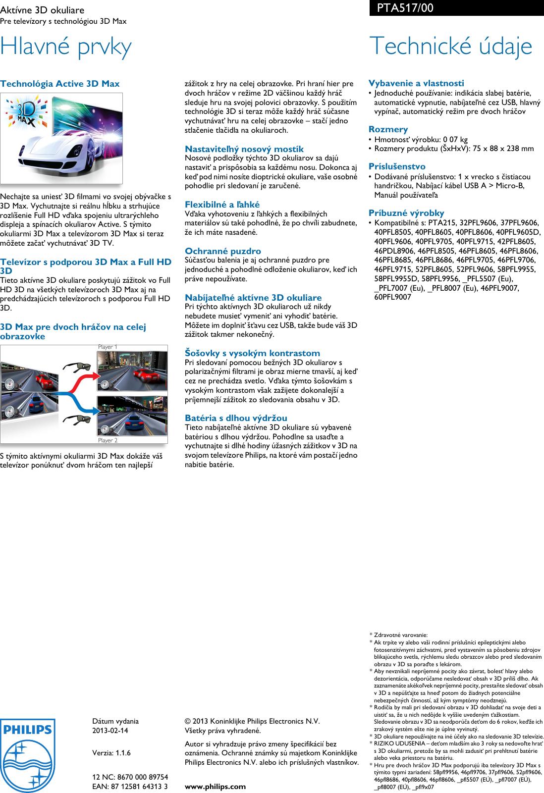 460fb920c Page 2 of 2 - Philips PTA517/00 Aktívne 3D Okuliare User Manual Prospekt  Pta517