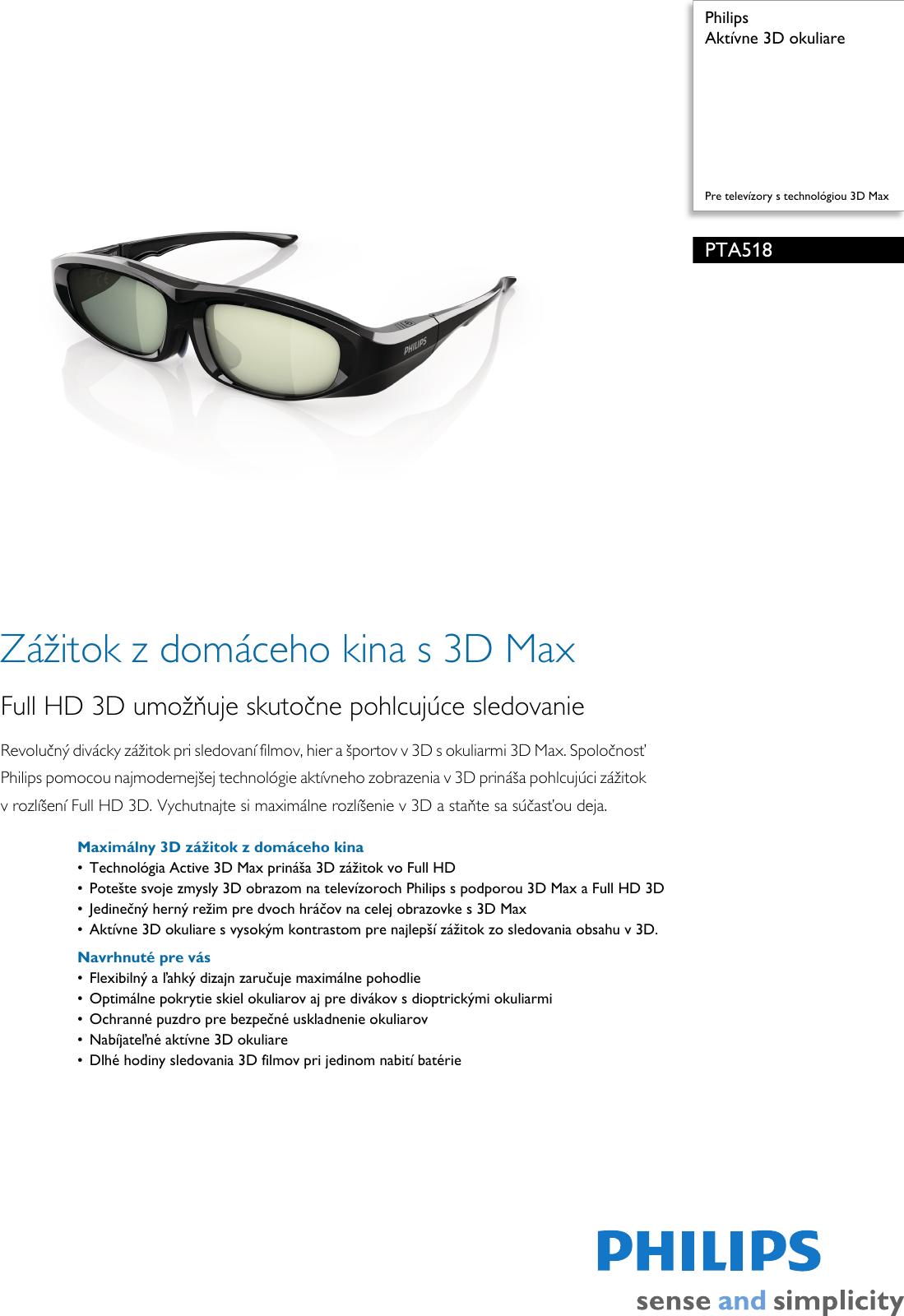 f35cb2714 Philips PTA518/00 Aktívne 3D Okuliare User Manual Prospekt Pta518 00 Pss  Slksk
