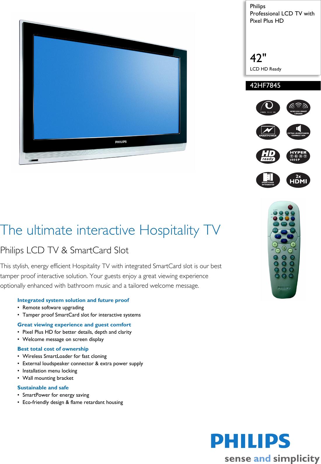 Philips 42Hf7845 Users Manual 42HF7845/10 Professional LCD