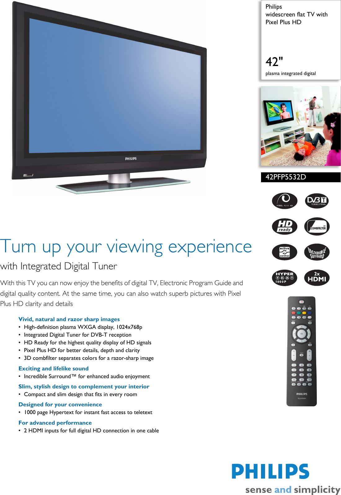 Philips 42Pfp5532D Users Manual 42PFP5532D/12 Widescreen Flat TV